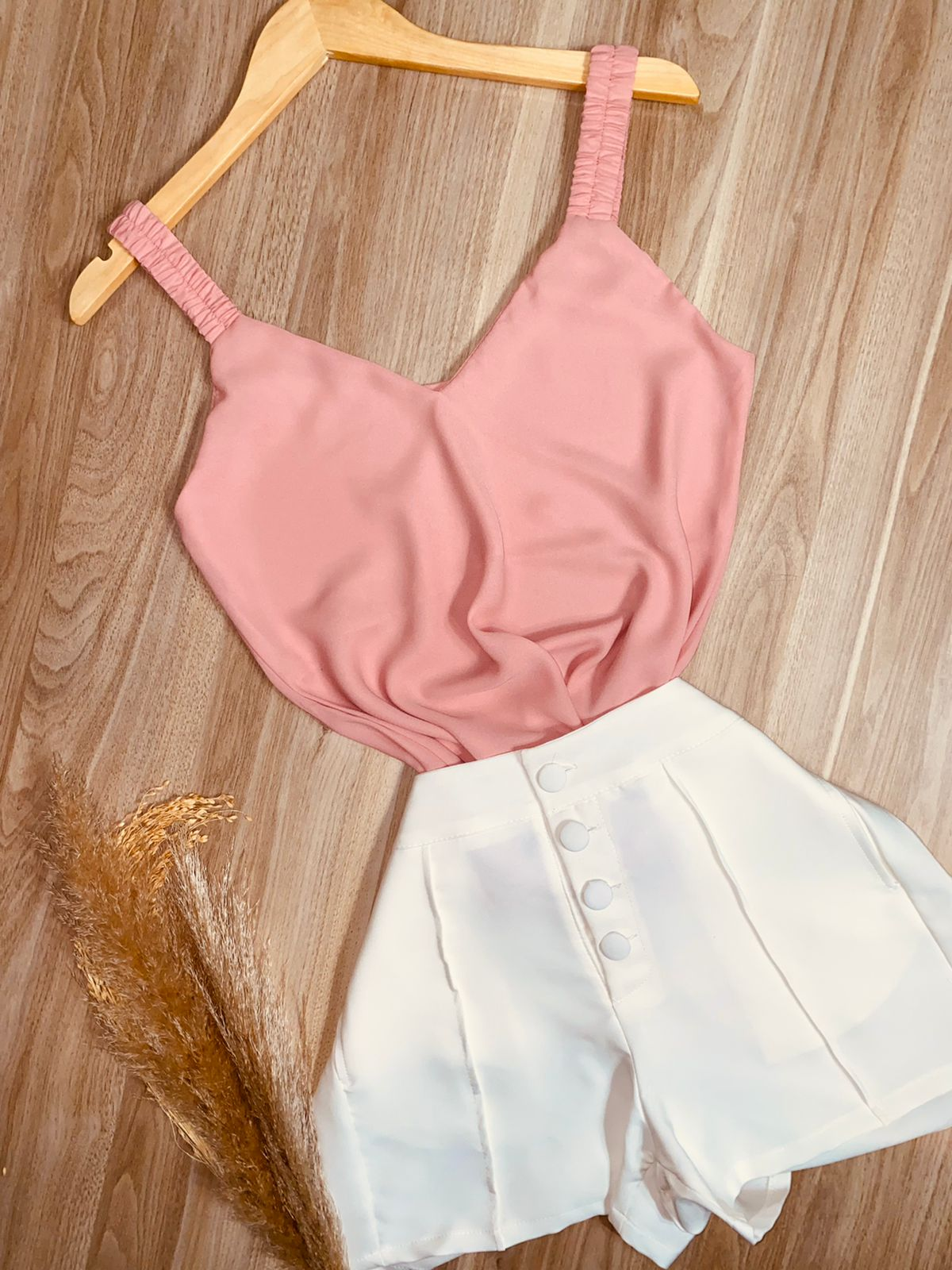 Blusa Alcinha Decote V Rosê
