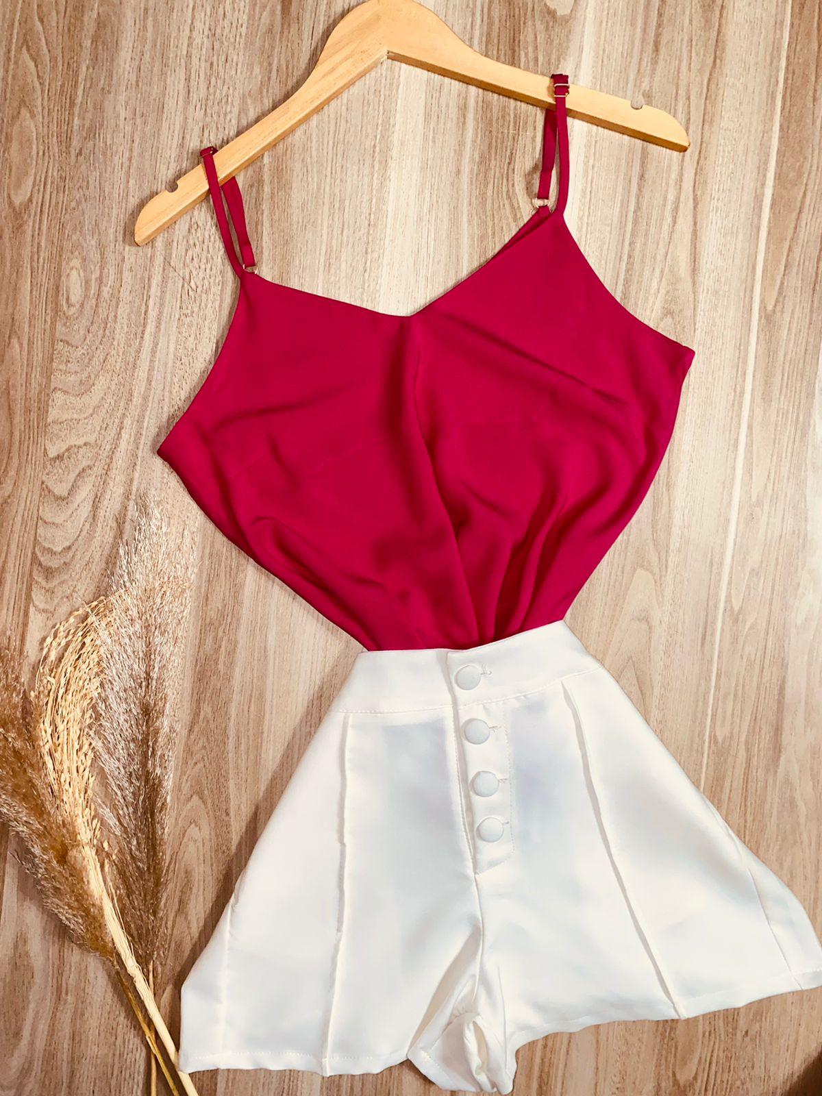 Blusa Alcinha Decote V Top Pink