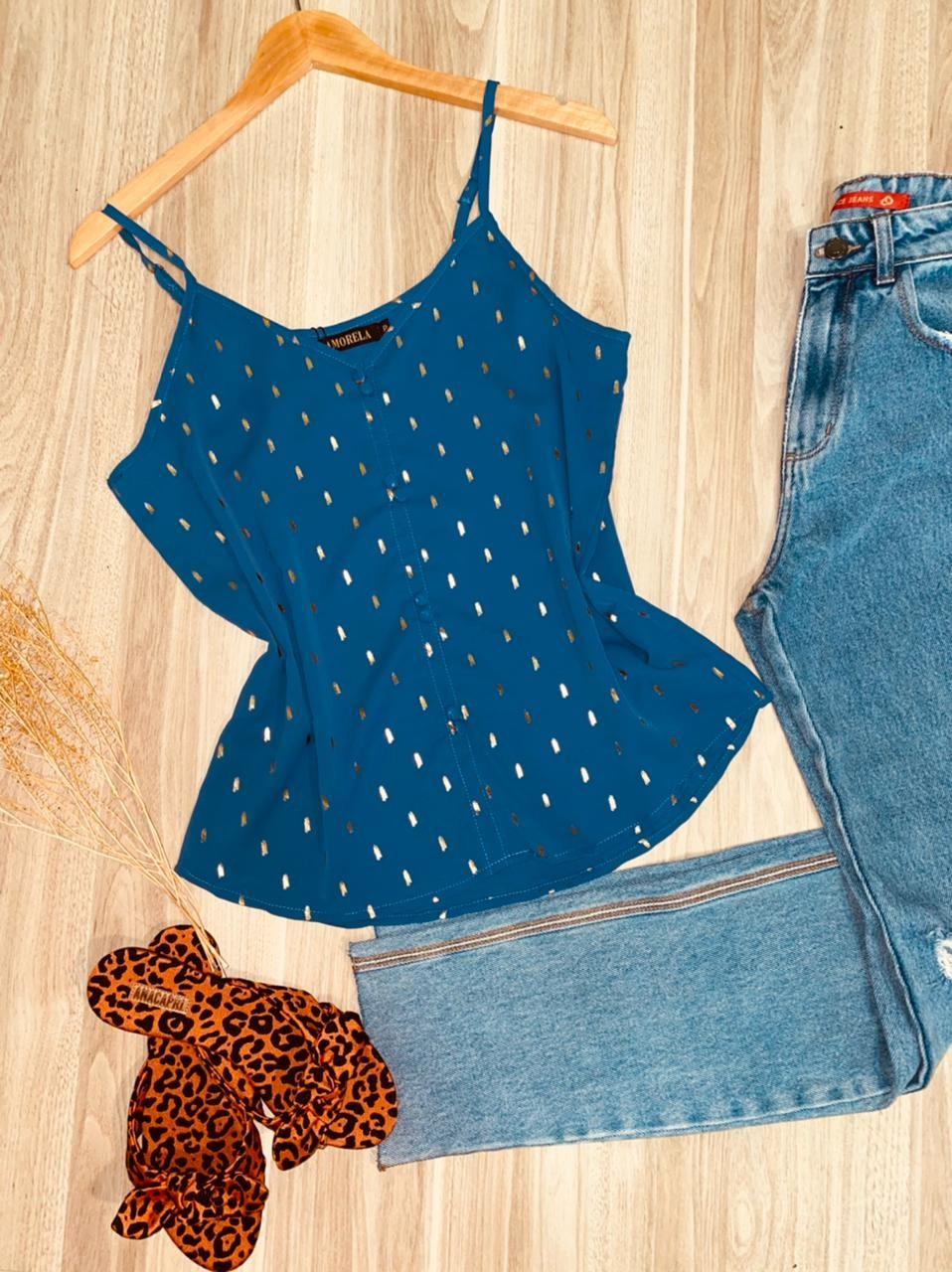 Blusa Alcinha Detalhes e Toque de Seda Mariah Azul