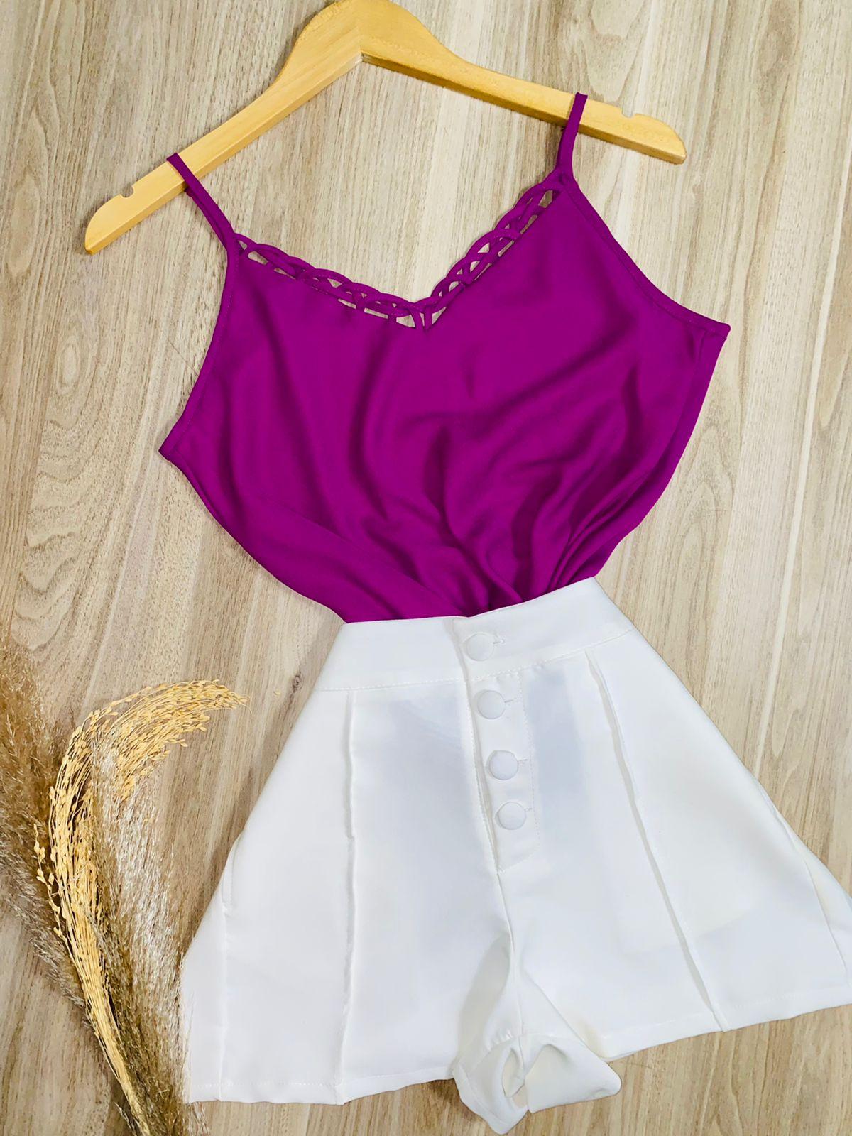 Blusa Alcinha Fashion Roxo