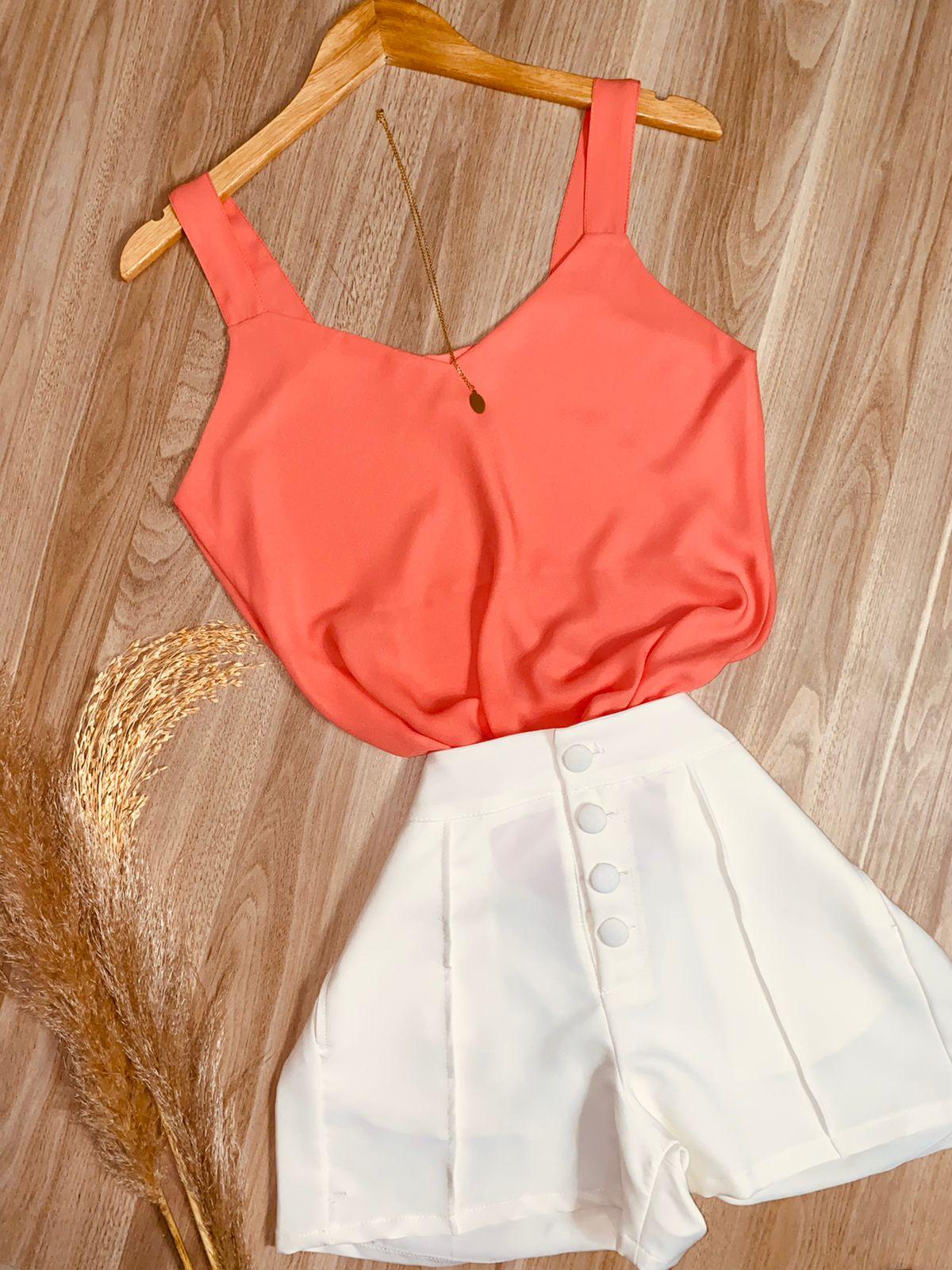 Blusa Alcinha Top Fashion Laranja