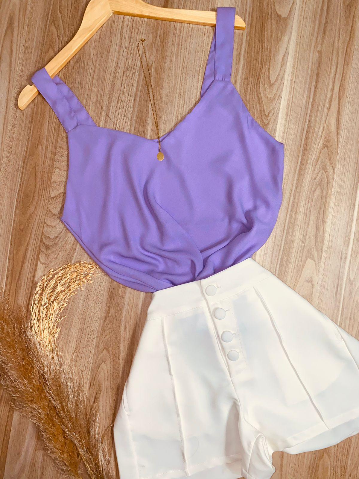 Blusa Alcinha Top Fashion Lilás