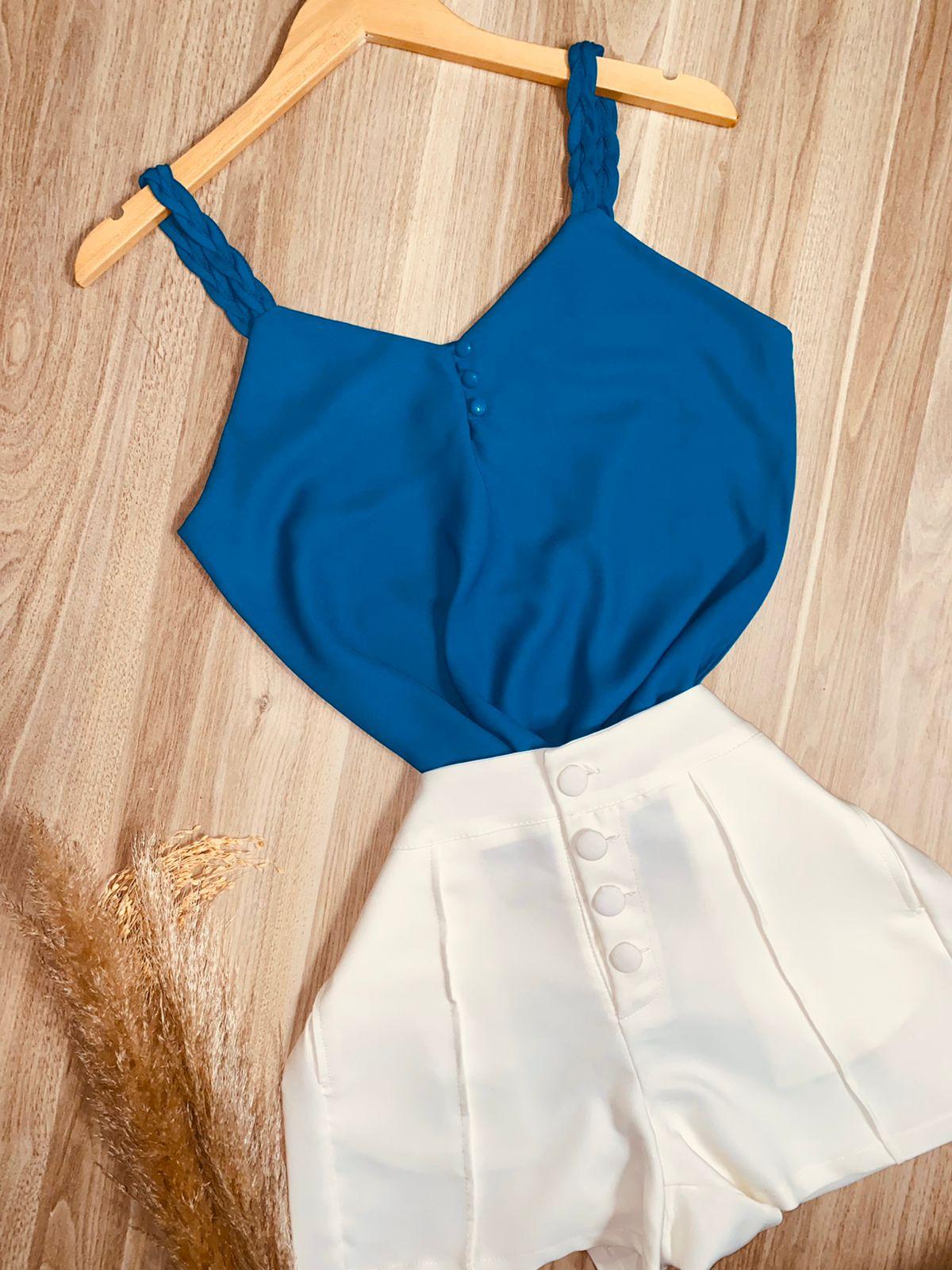 Blusa Alcinha Trançada Azul