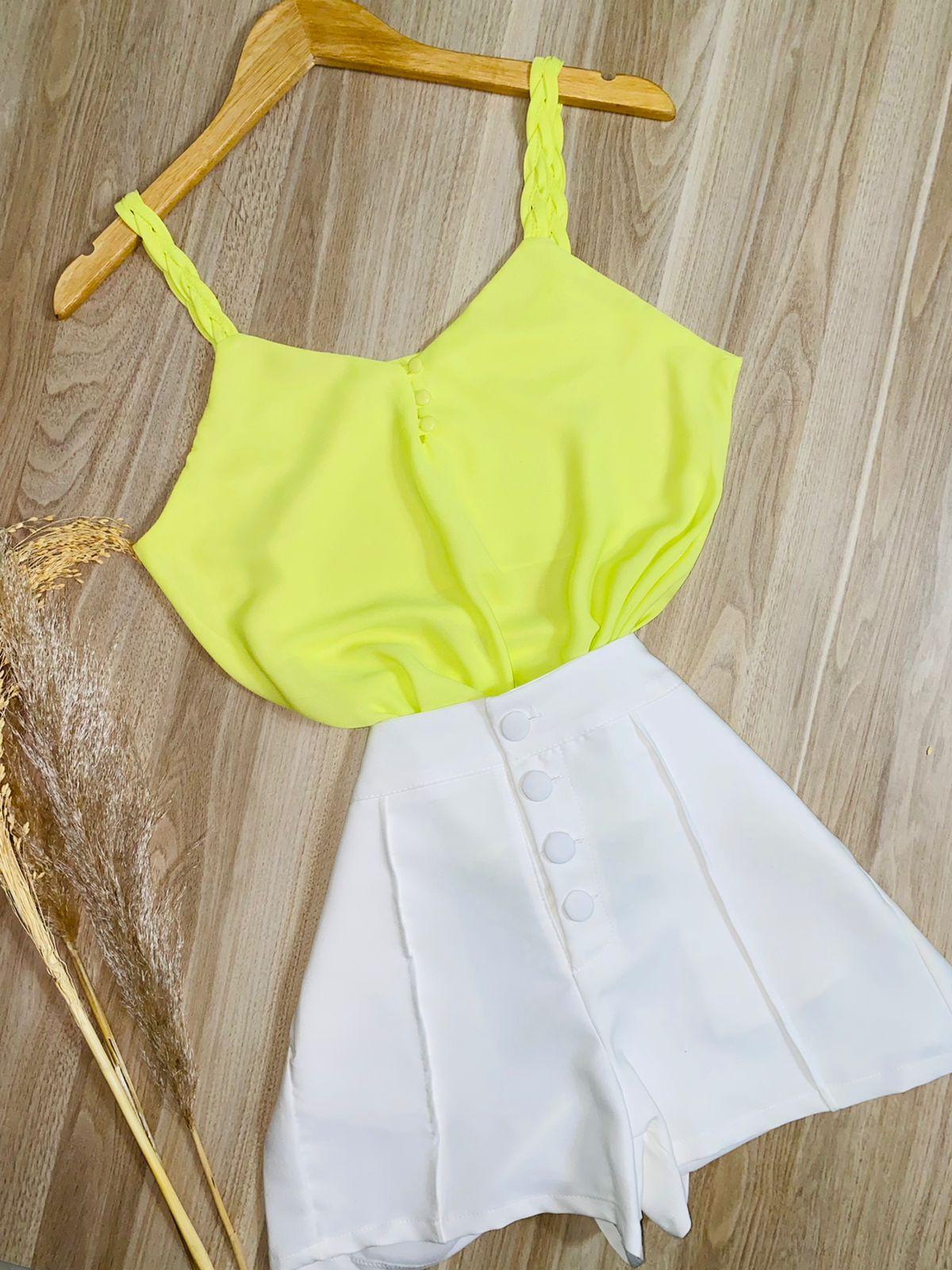 Blusa Alcinha Trançada Verde Limão