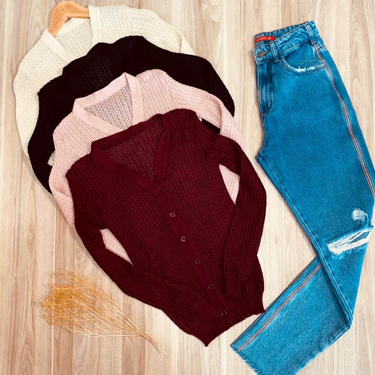 Blusa Cardigan Tricot Pipoquinha com Botões Diversas Cores