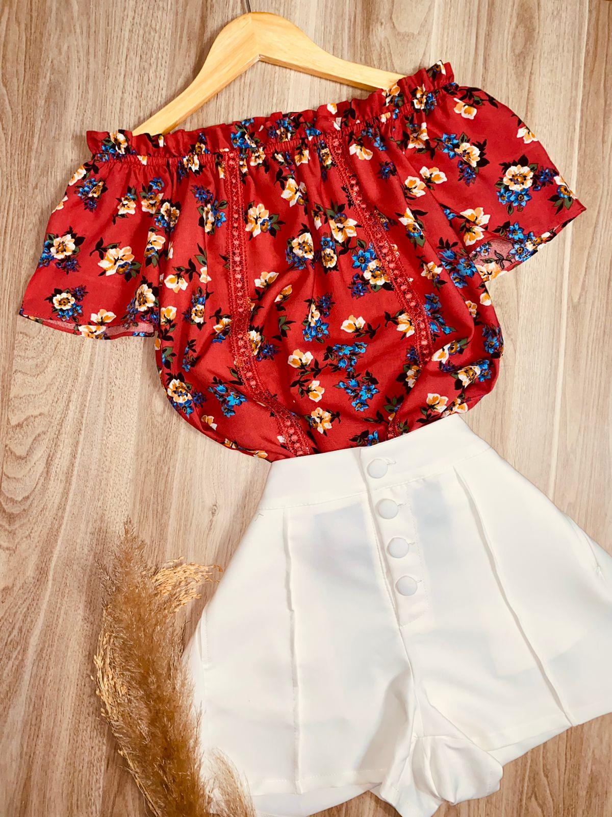 Blusa Ciganinha com Renda Floral Vermelha
