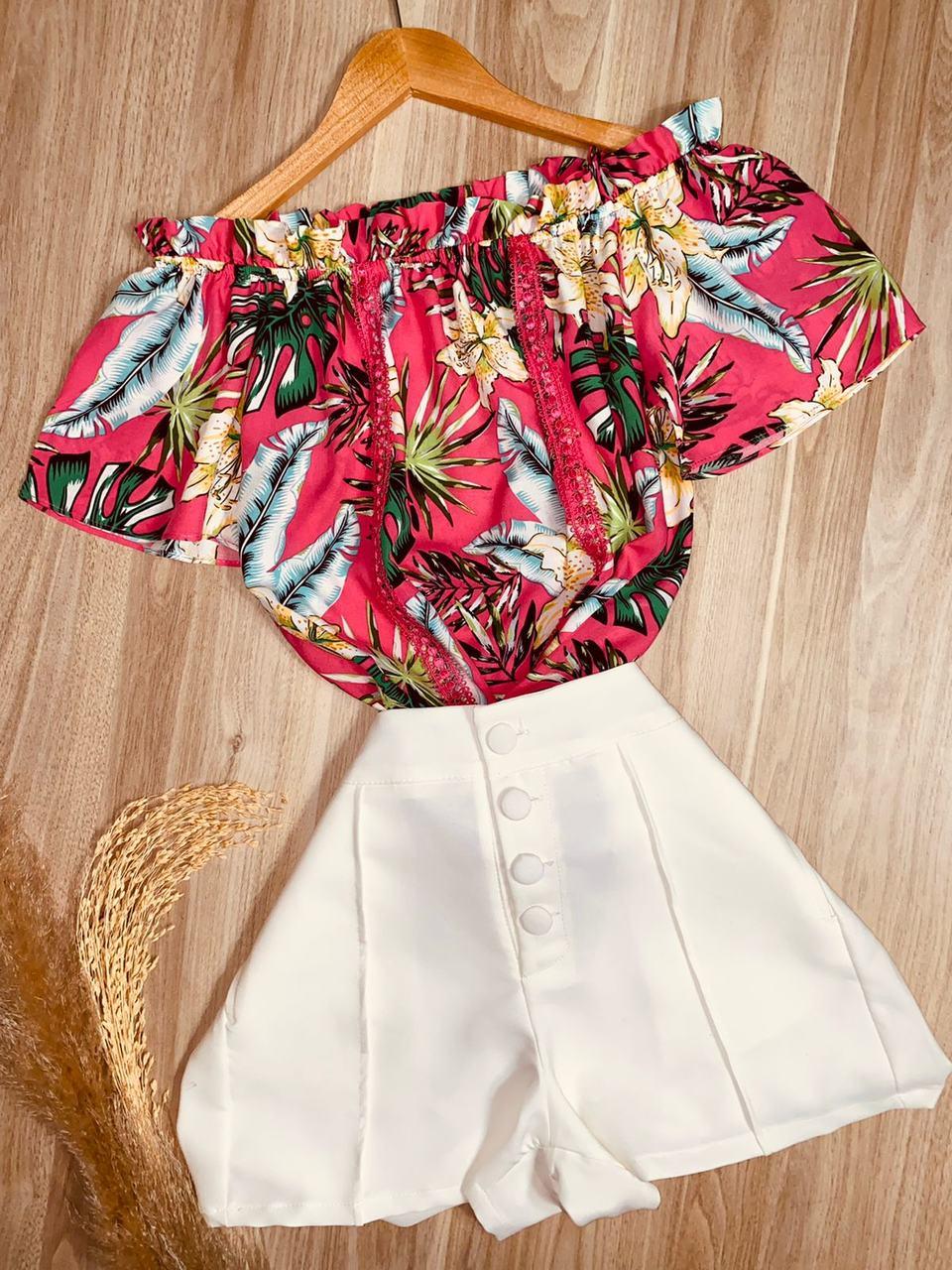 Blusa Ciganinha com Renda Florida Pink