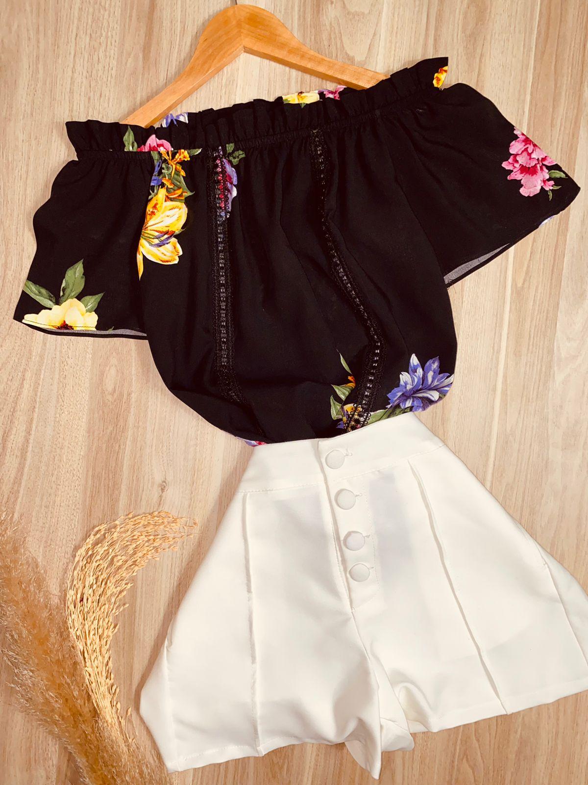 Blusa Ciganinha com Renda Flowers Black
