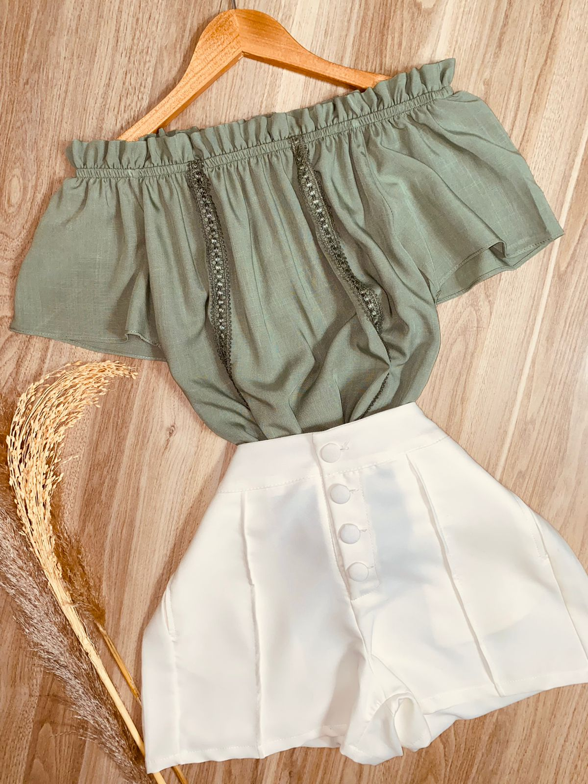Blusa Ciganinha com Renda Verde Mint