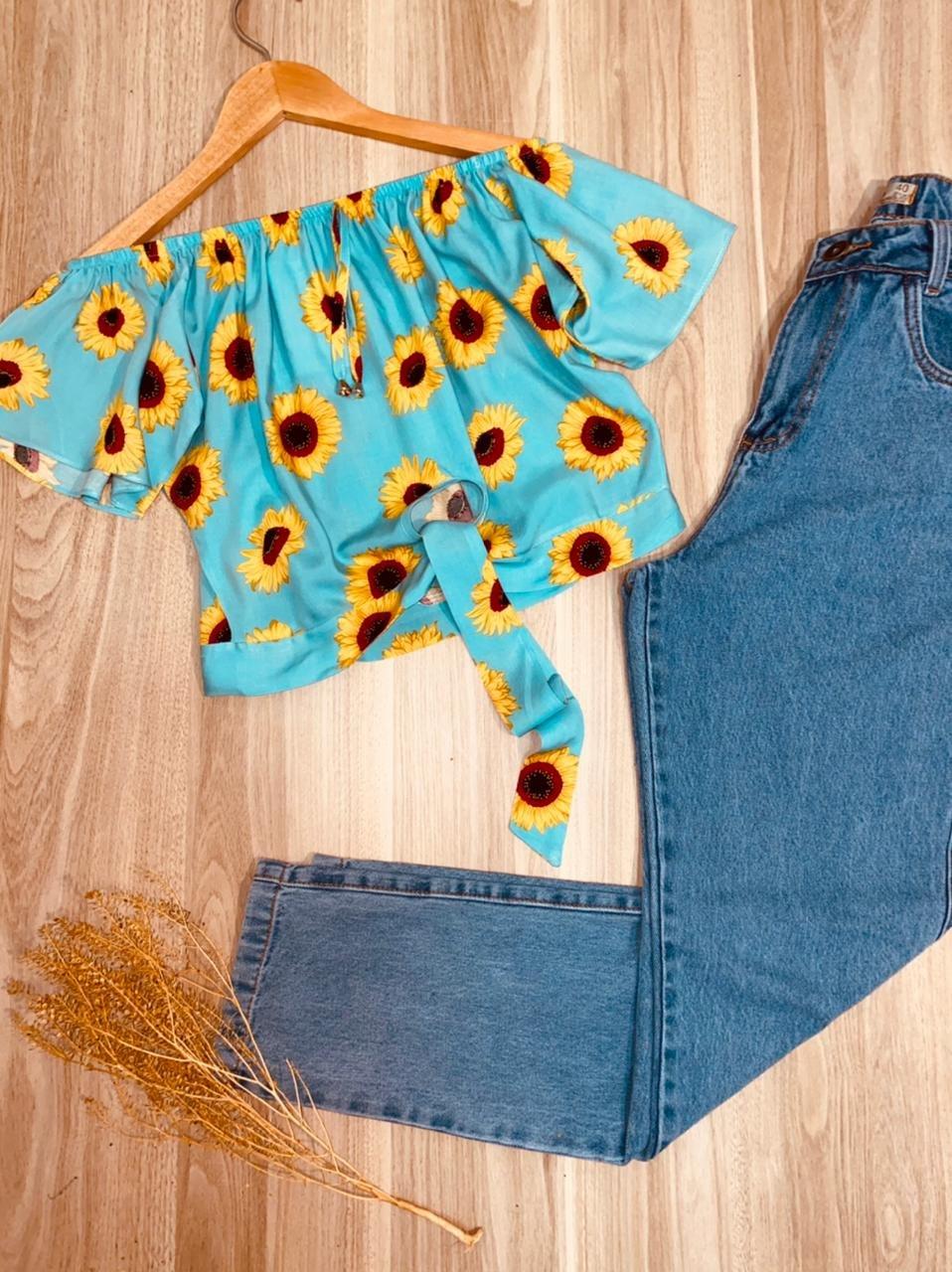 Blusa Ciganinha Cropped de Amarrar Mariah Girassóis Azul