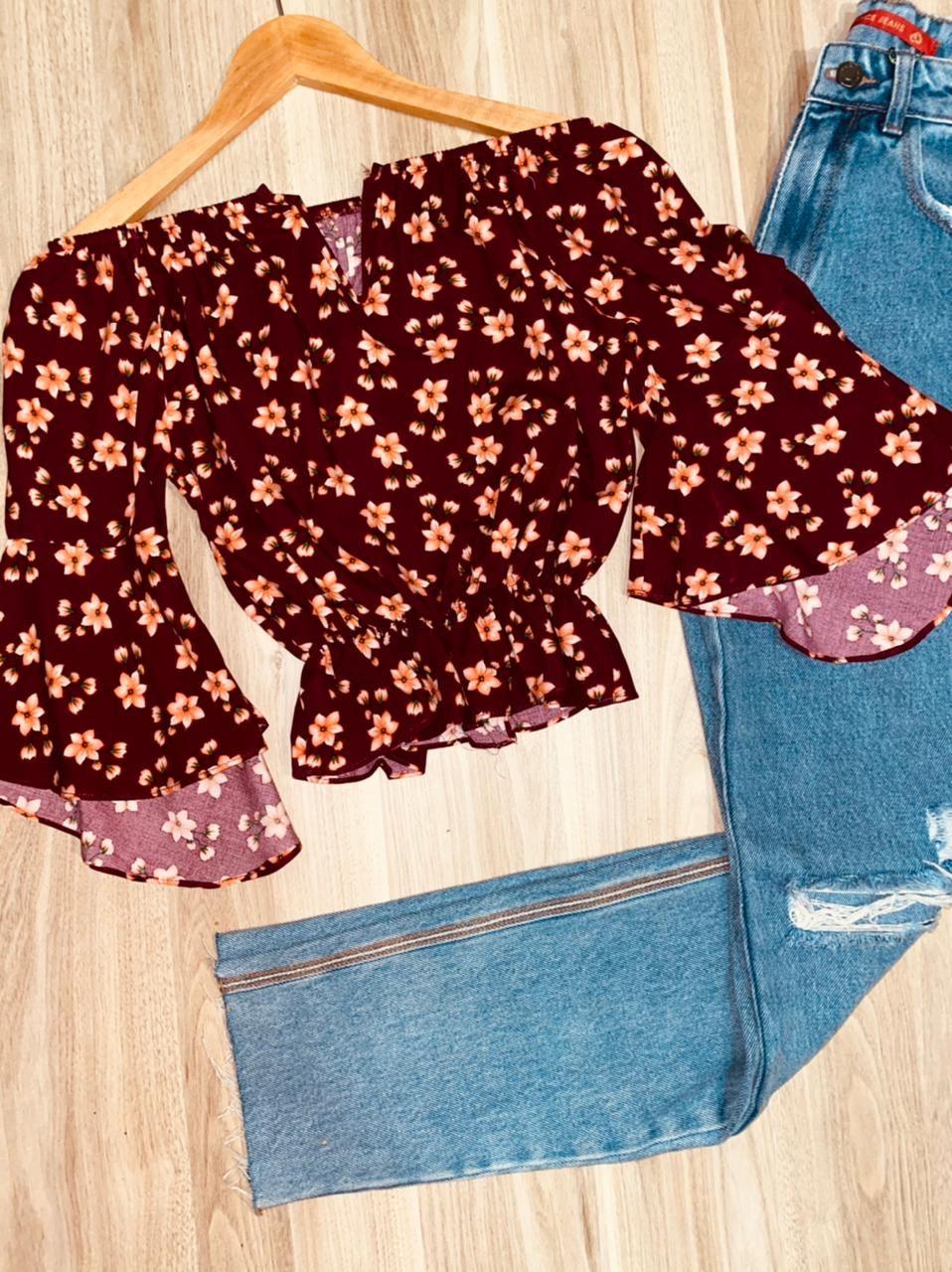 Blusa Ciganinha Cropped Decote V Manga 3/4 Florença Flores