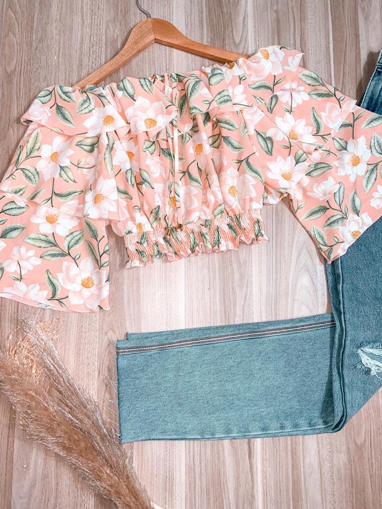 Blusa Ciganinha Cropped Dupla Manga Babado Sofia Floral Rosê