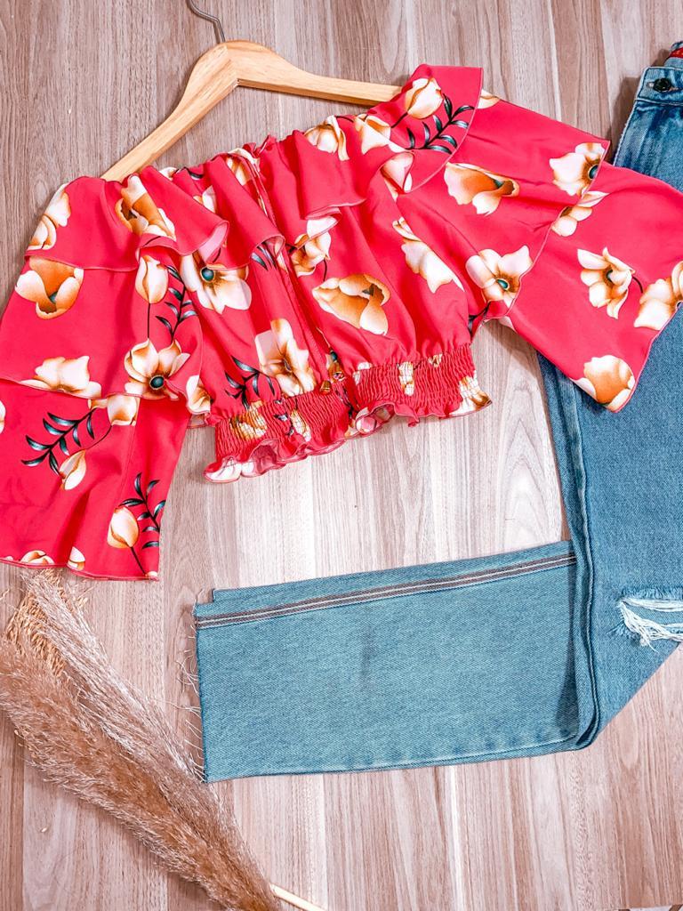 Blusa Ciganinha Cropped Dupla Manga Babado Sofia Flores Pink