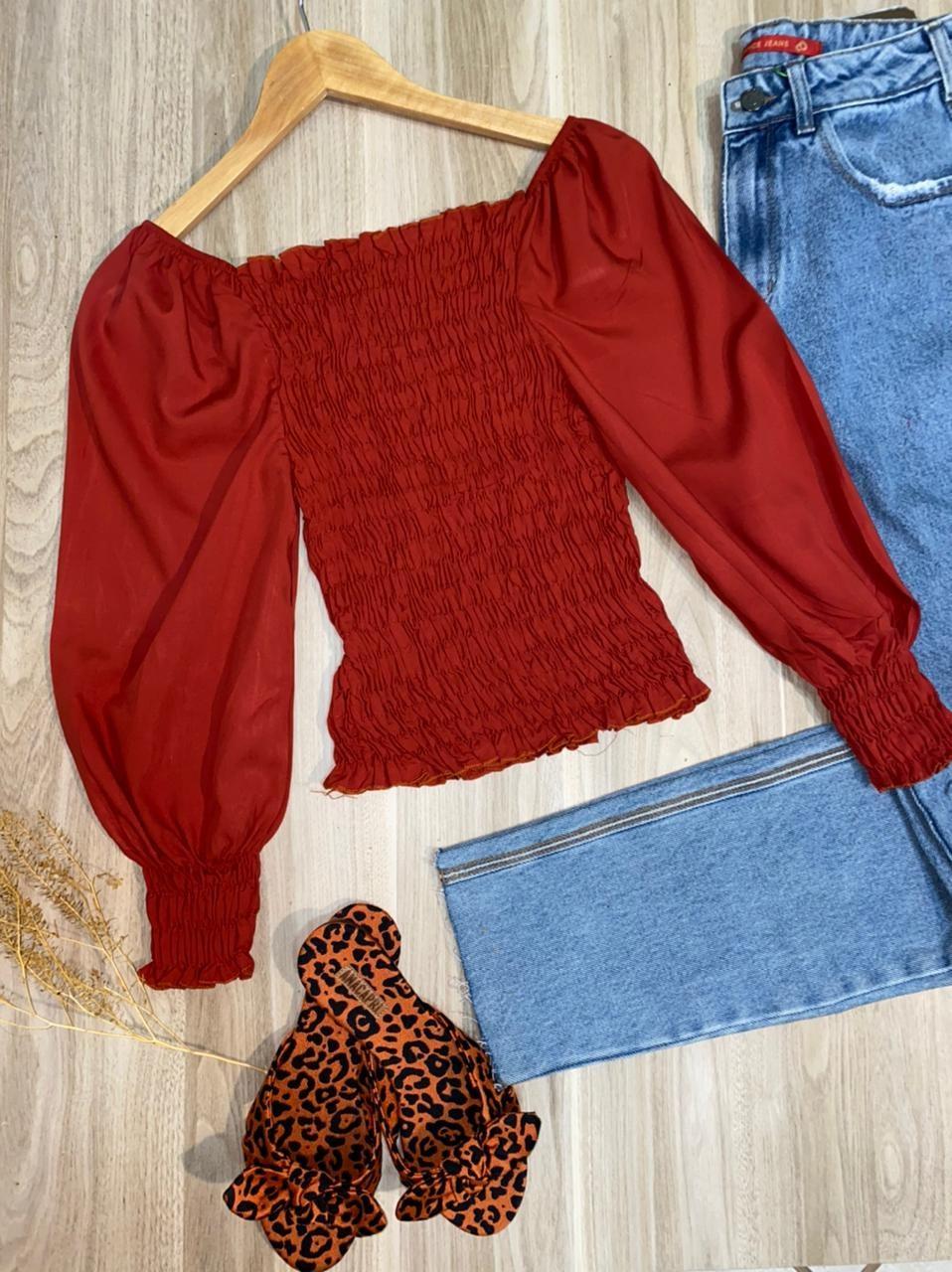 Blusa Ciganinha Cropped Lastex 3|4 Florença Terra