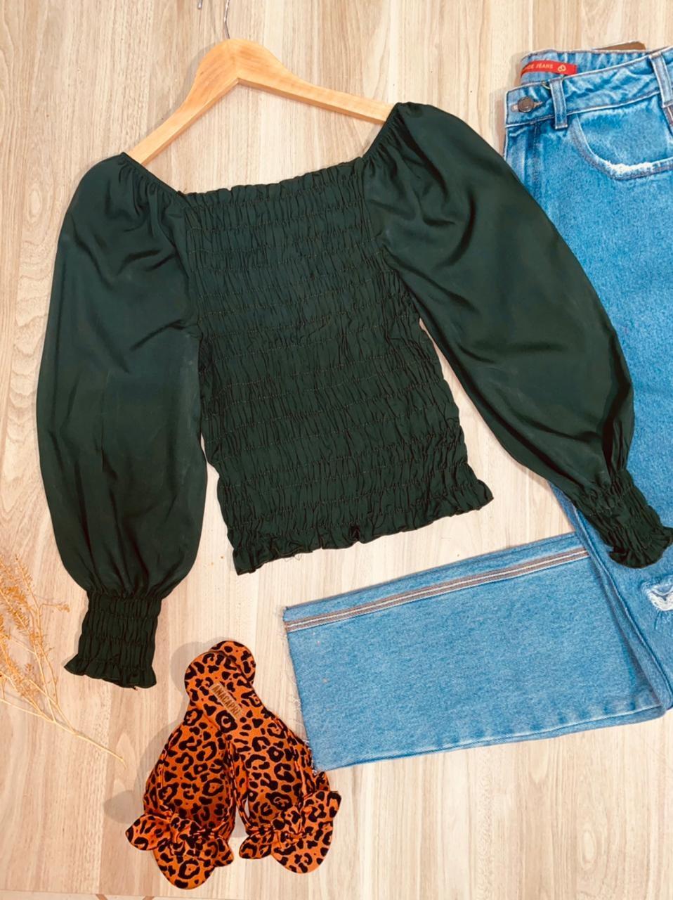 Blusa Ciganinha Cropped Lastex 3|4 Florença Verde