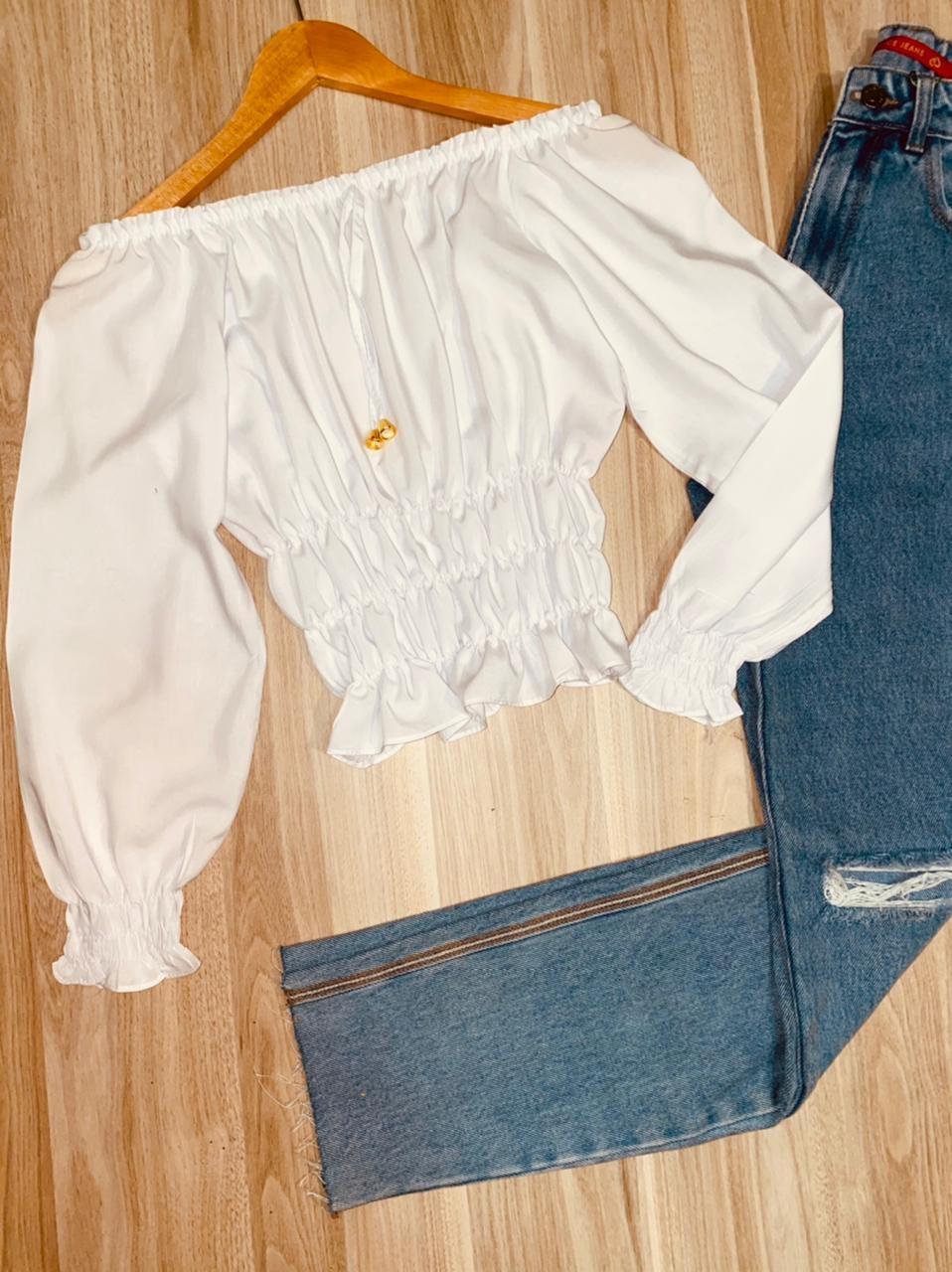 Blusa Ciganinha Cropped Manga 3/4 com Lastex Florença Branco