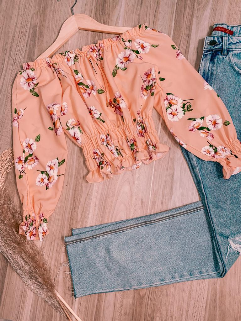Blusa Ciganinha Cropped Manga 3/4 com Lastex Florença Floral