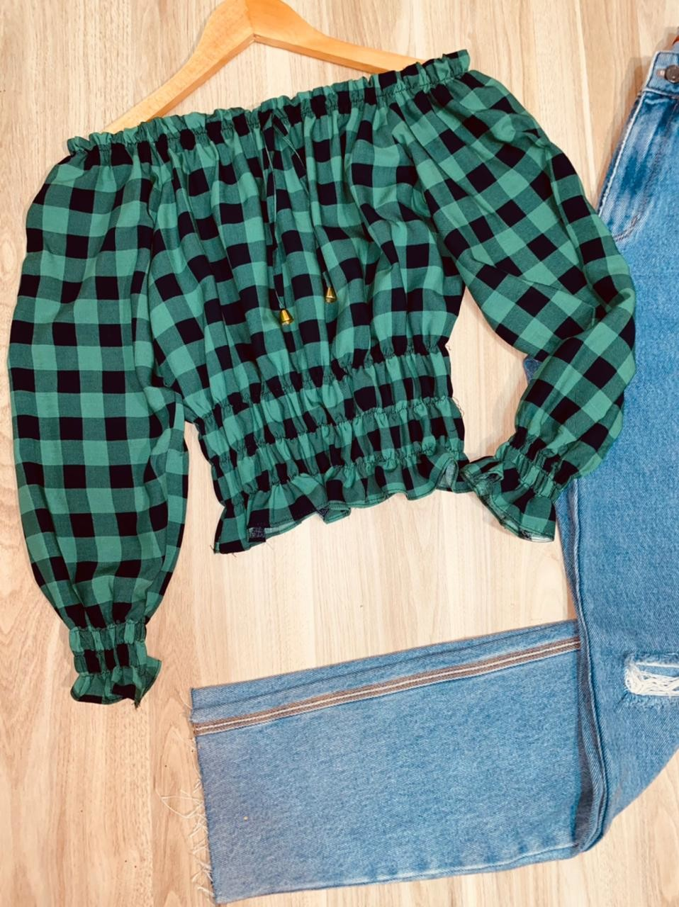 Blusa Ciganinha Cropped Manga 3/4 com Lastex Xadrez Verde