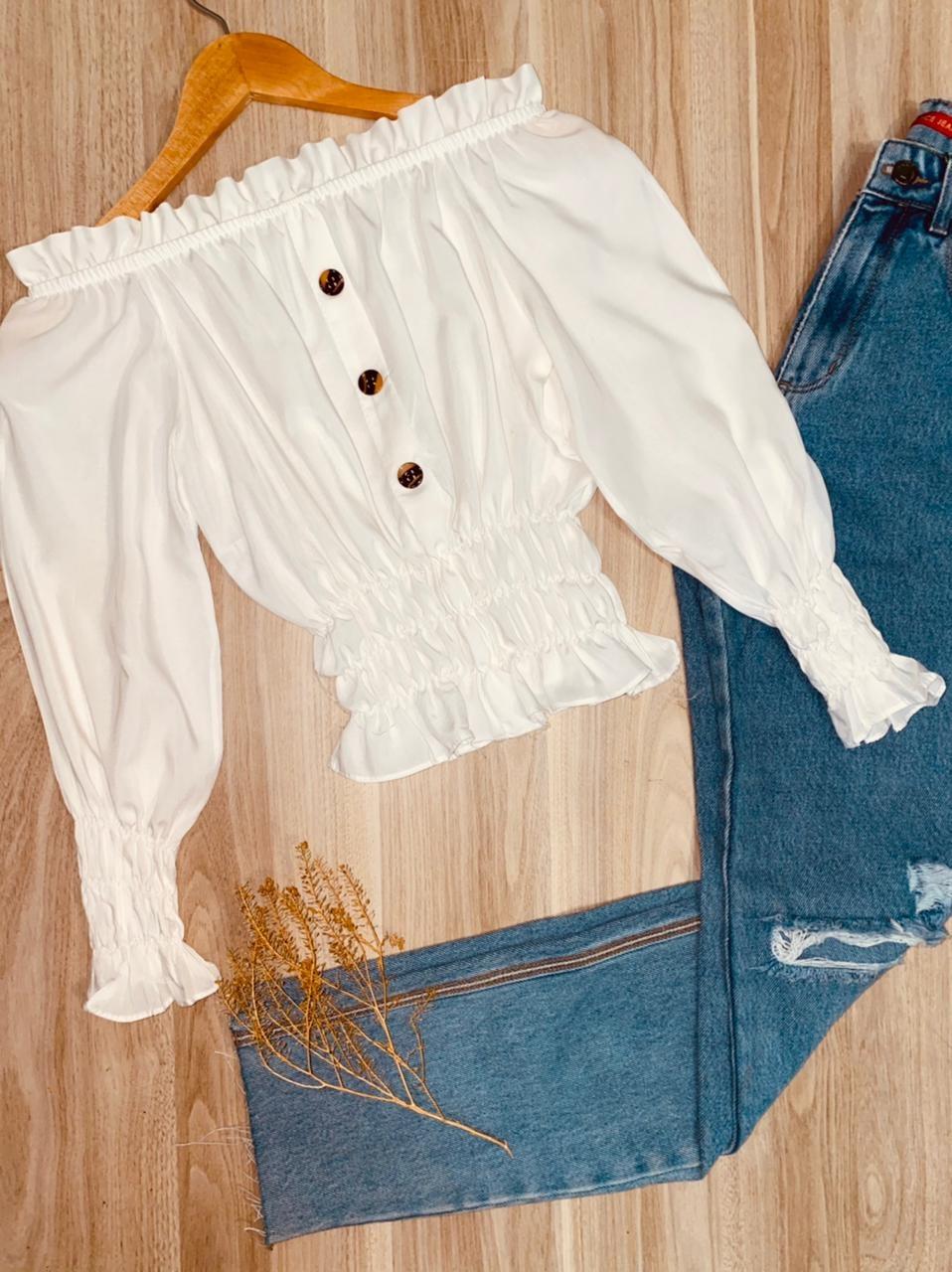 Blusa Ciganinha Cropped Manga Longa Botões Falso Branco