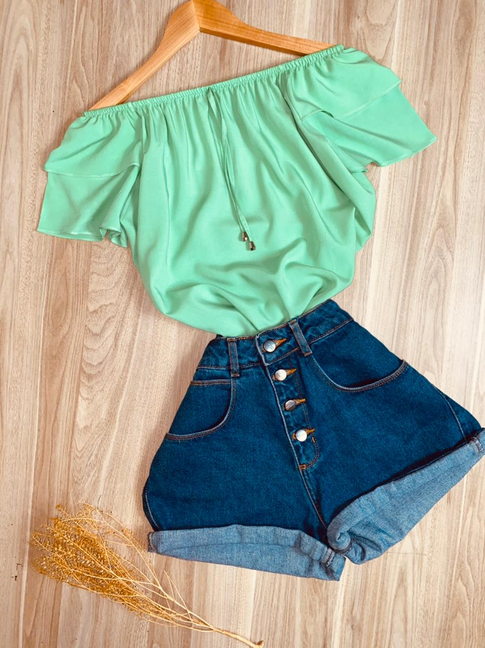 Blusa Ciganinha Dupla Manga Tatiana Verde Claro