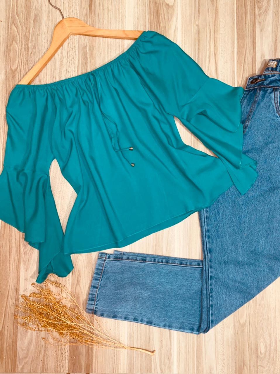 Blusa Ciganinha LB Manga 3 4 Verde Claro