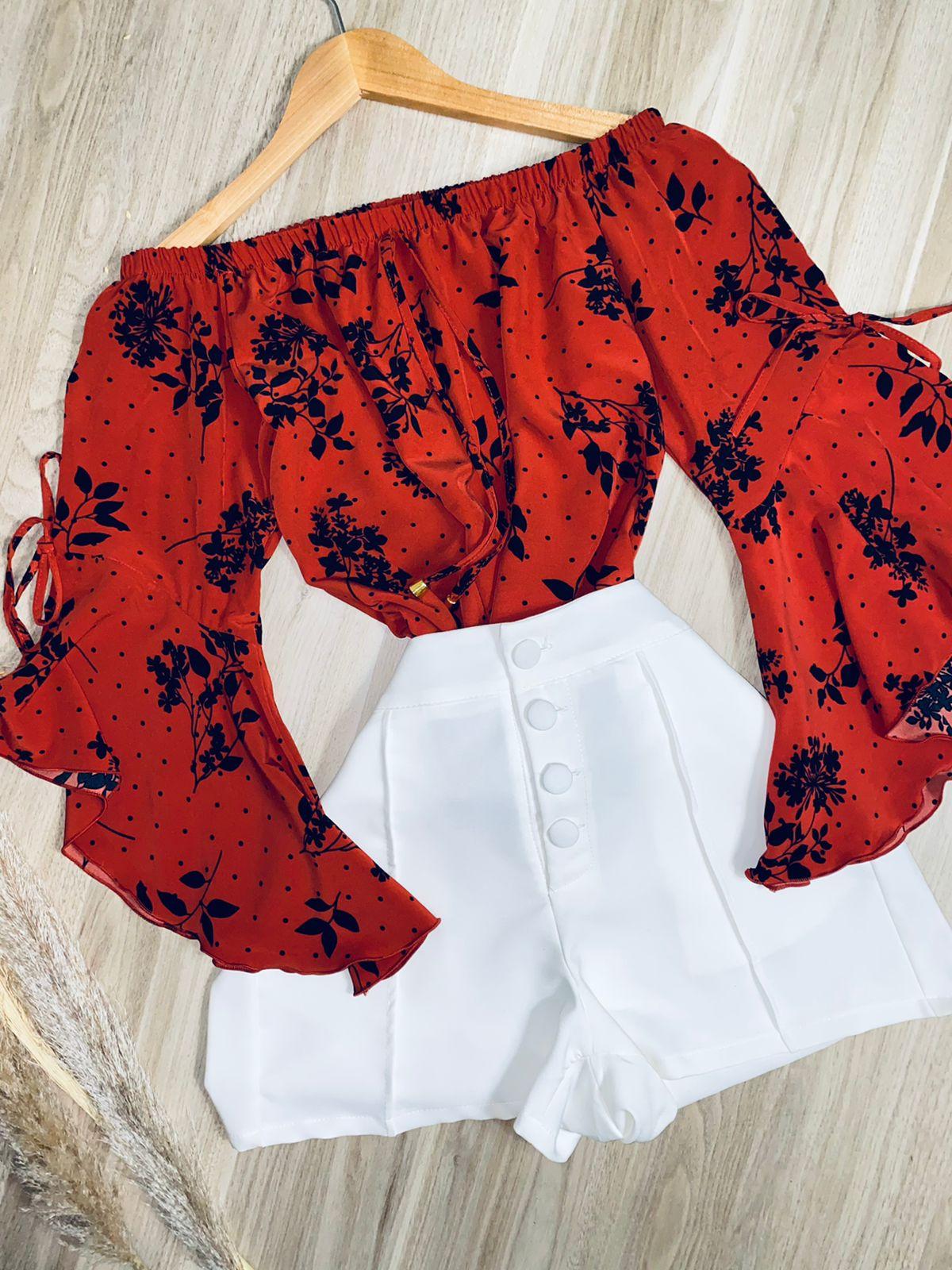 Blusa Ciganinha Manga 3|4 Lacinho Flores Poá Vermelha