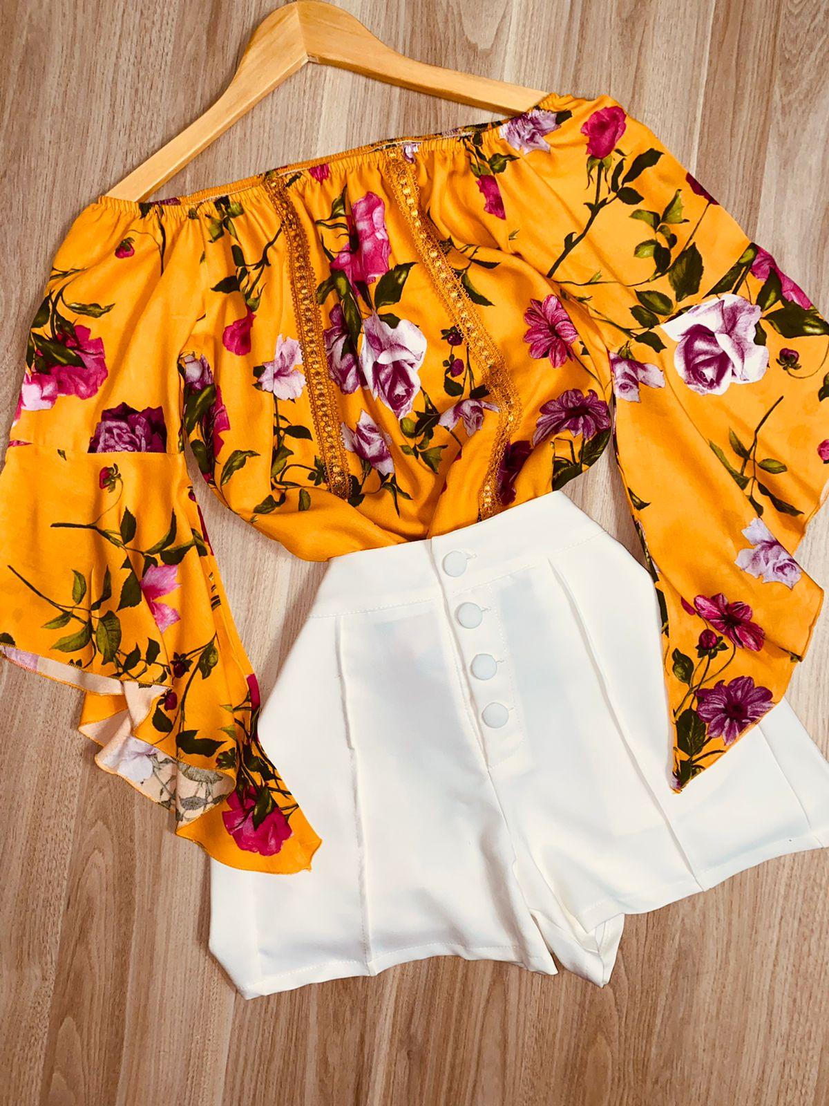 Blusa Ciganinha Manga 3 4 Renda Floral Amarela