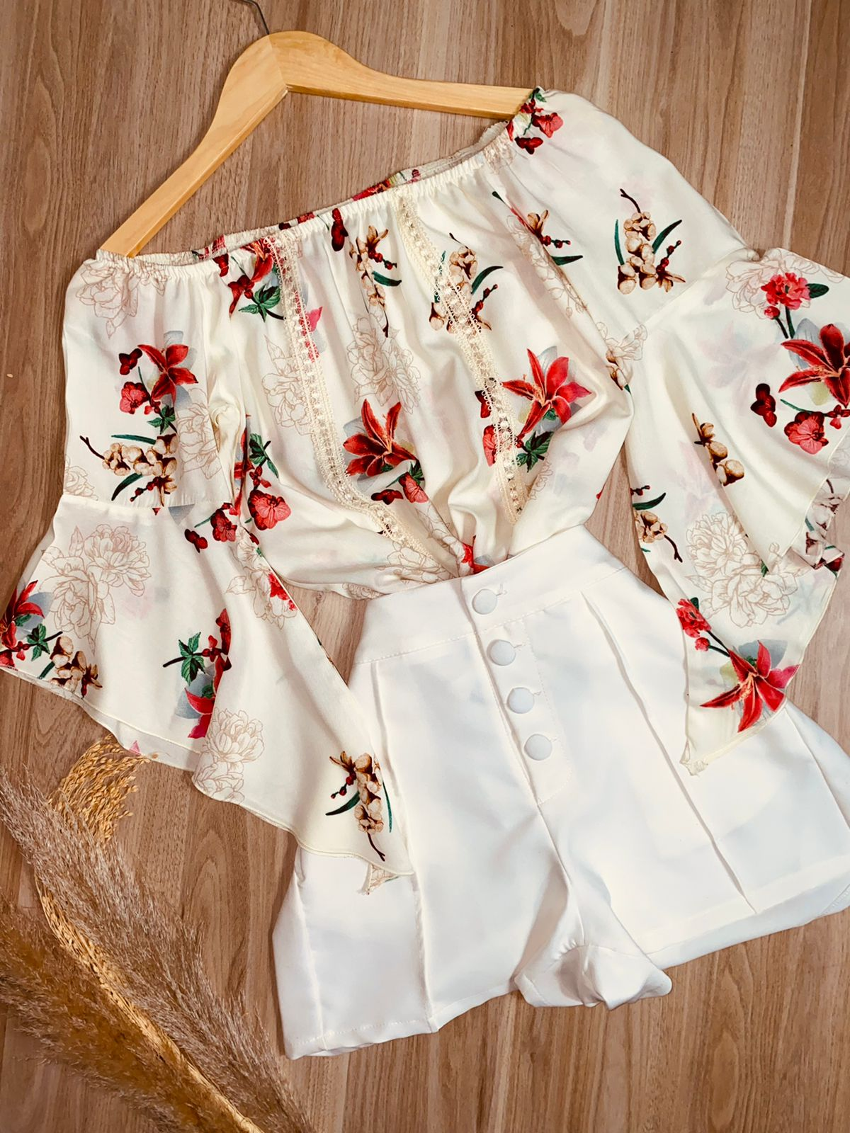 Blusa Ciganinha Manga 3 4 Renda Florida Branca