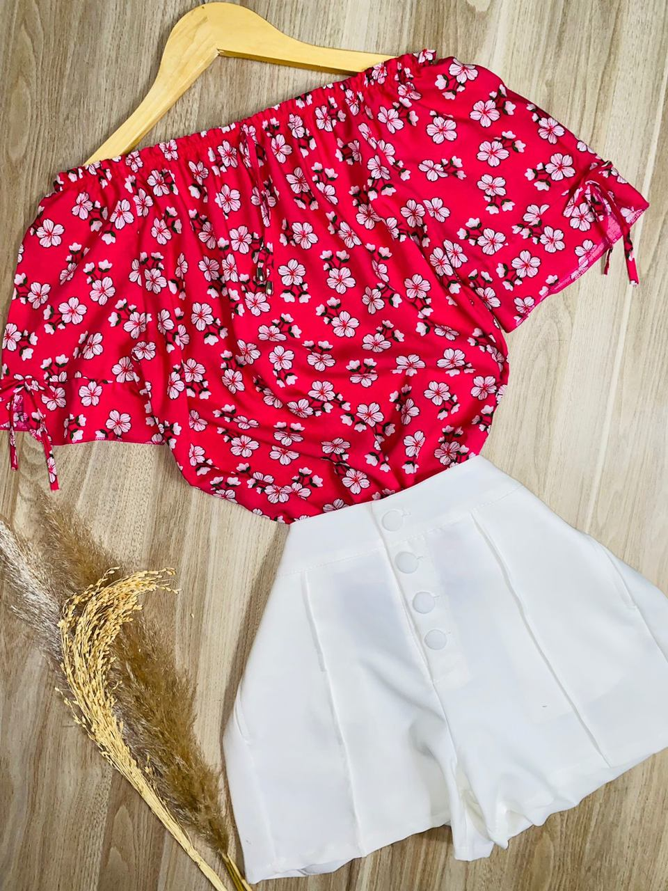 Blusa Ciganinha Manga com Lacinho Florzinha Pink