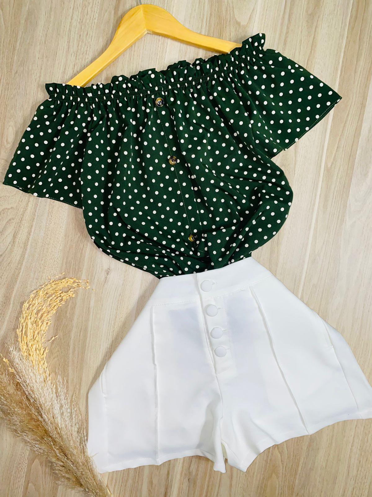Blusa Ciganinha Manga Curta Botões Falsos Mini Poá Verde