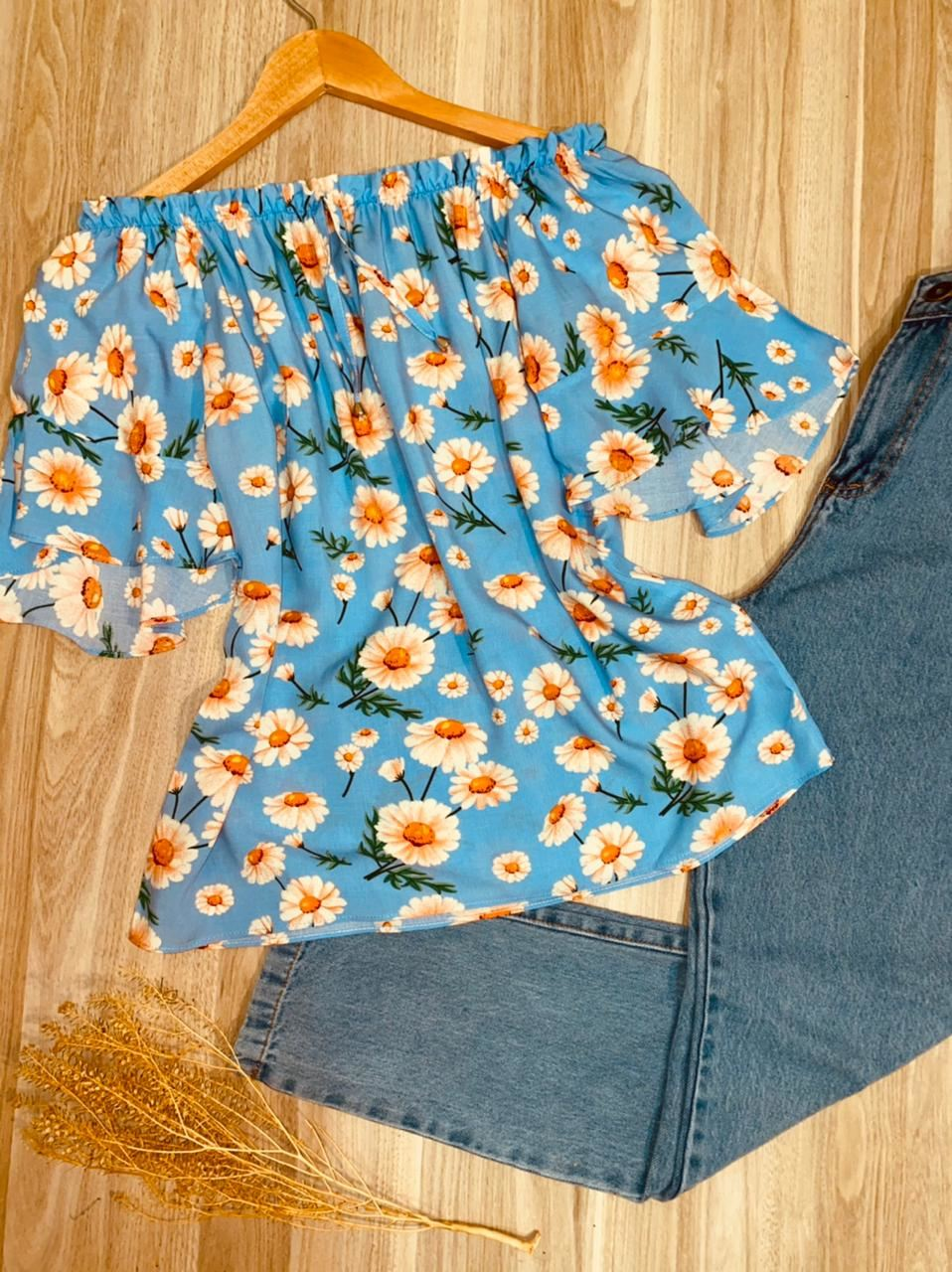 Blusa Ciganinha Manga Curta Fashion Mariah Margaridas Azul