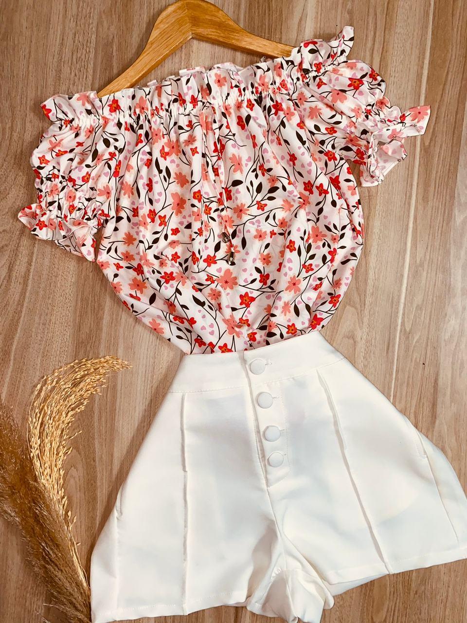 Blusa Ciganinha Manga Curta Florzinha White
