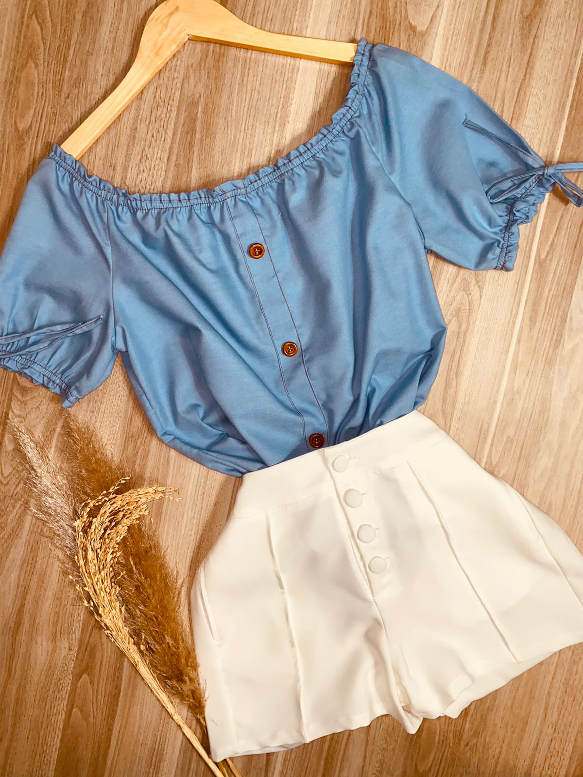 Blusa Ciganinha Manga Curta Jeans Azul Claro