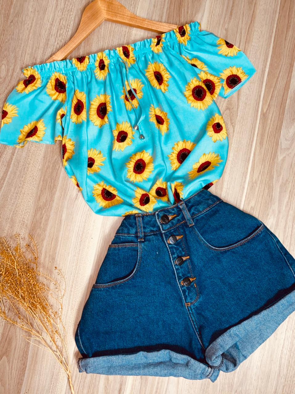 Blusa Ciganinha Manga Curta Mariah Girassóis Azul Claro