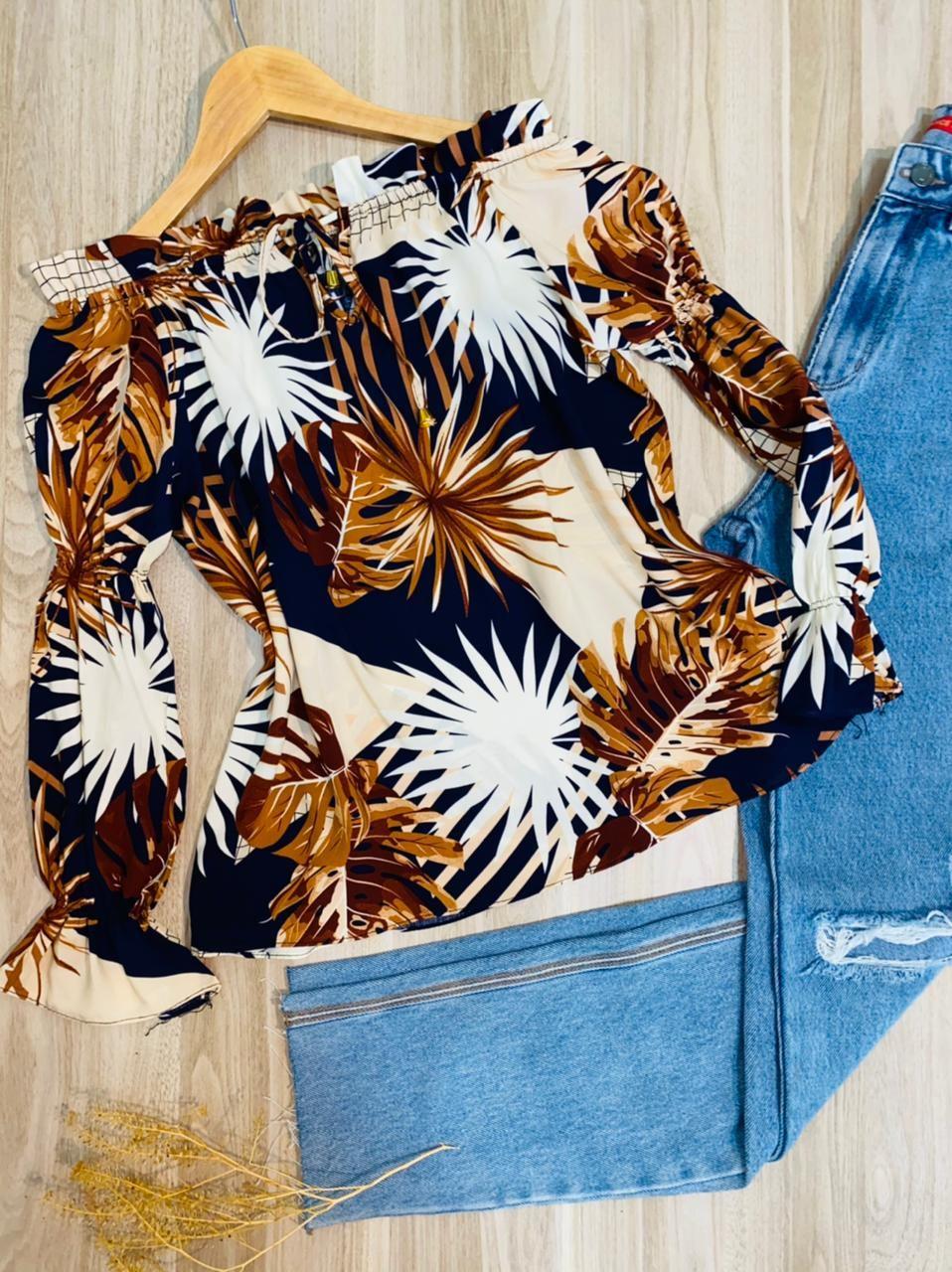 Blusa Ciganinha Manga Longa com Elástico Folhas Azul Marinho