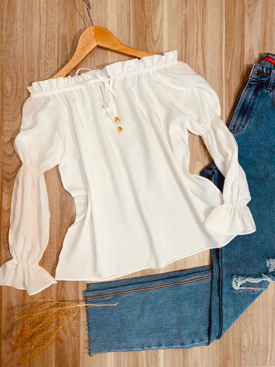 Blusa Ciganinha Manga Longa com Elástico Lisa Branco