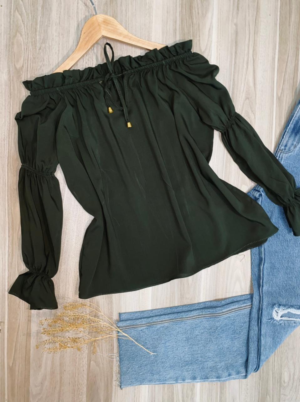Blusa Ciganinha Manga Longa com Elástico Lisa Verde Militar