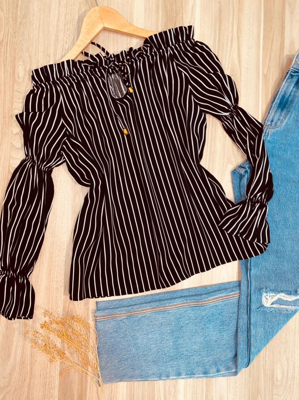 Blusa Ciganinha Manga Longa com Elástico Listras Preto