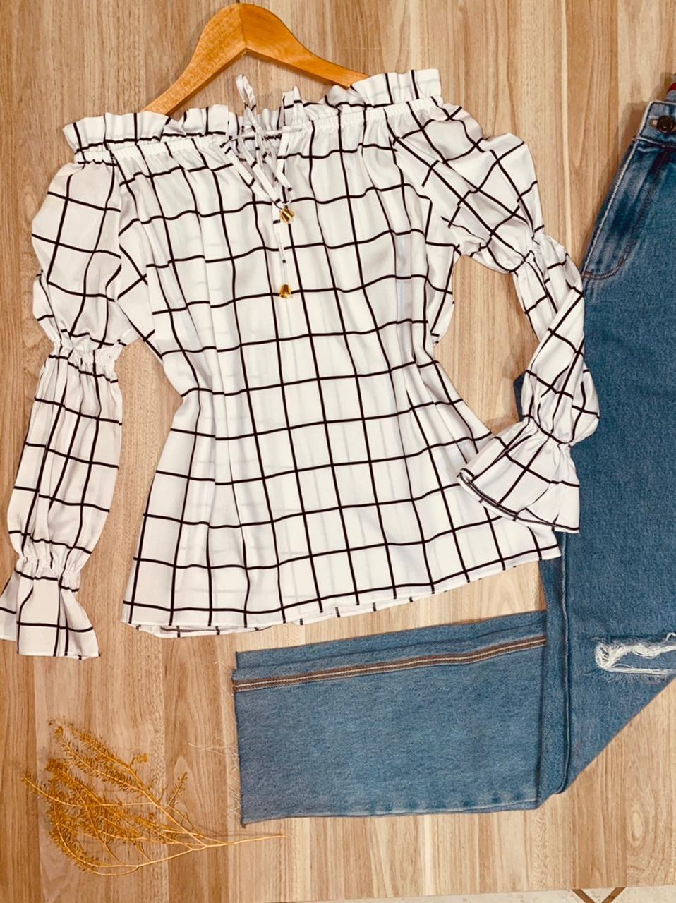 Blusa Ciganinha Manga Longa com Elástico Xadrez Branco