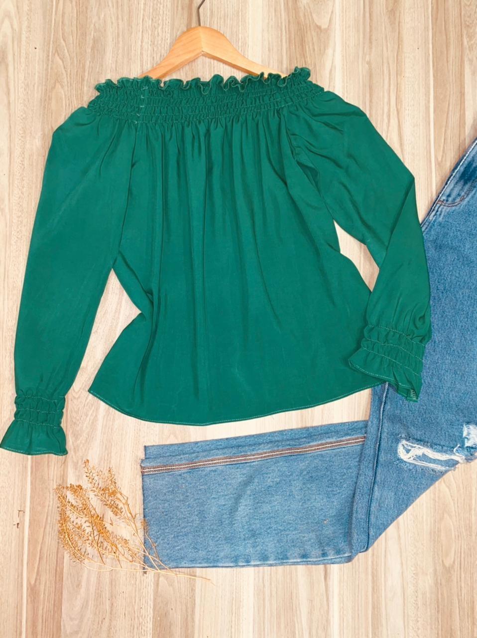 Blusa Ciganinha Manga Longa com Lastex Lisa Verde Bandeira