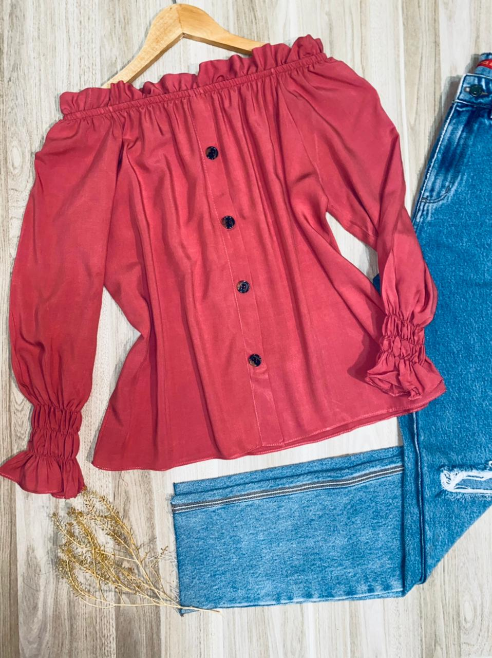 Blusa Ciganinha Manga Longa Fashion Rosa Antigo