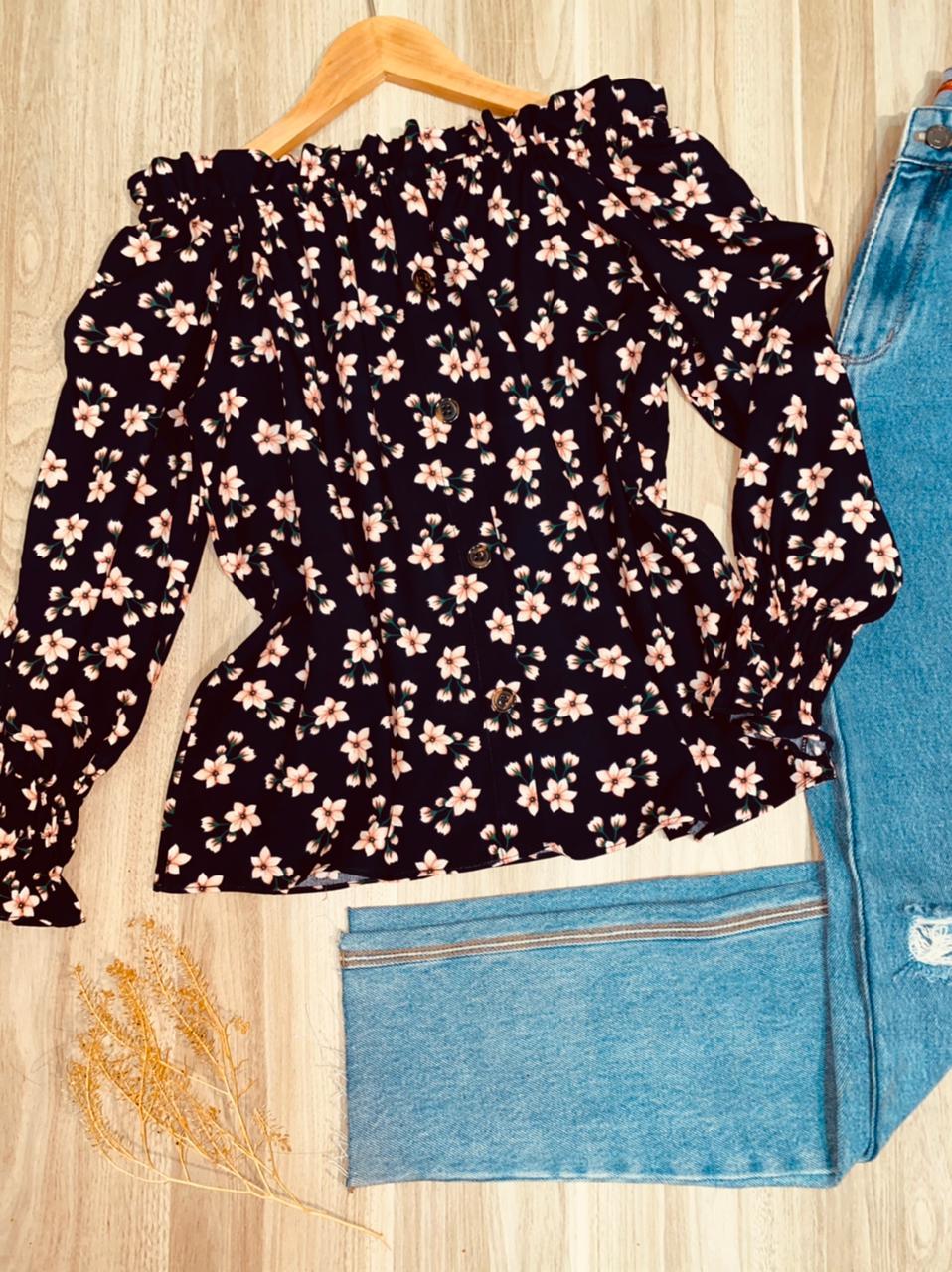 Blusa Ciganinha Manga Longa Florença Florzinha Azul