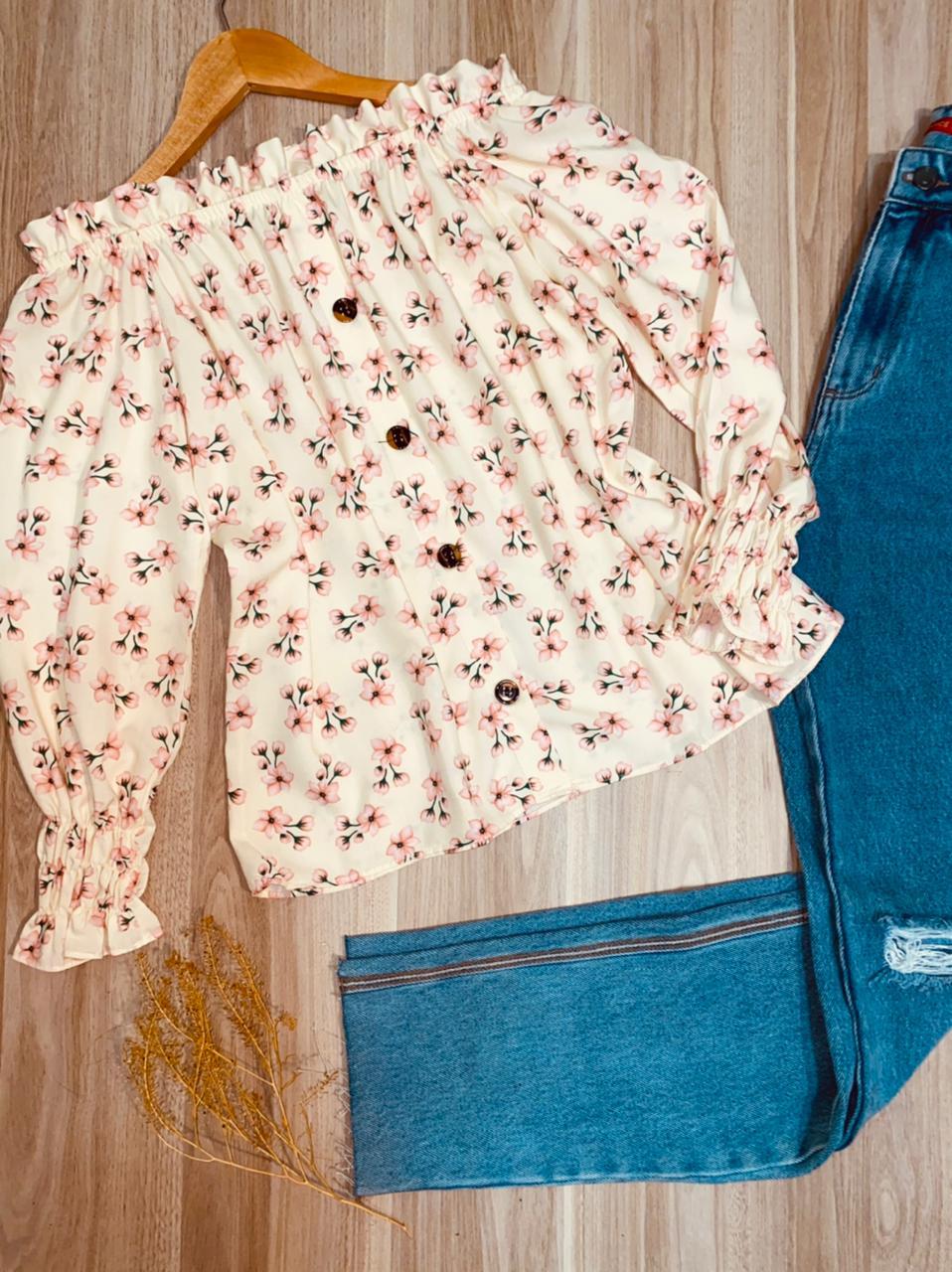 Blusa Ciganinha Manga Longa Florença Florzinha Creme