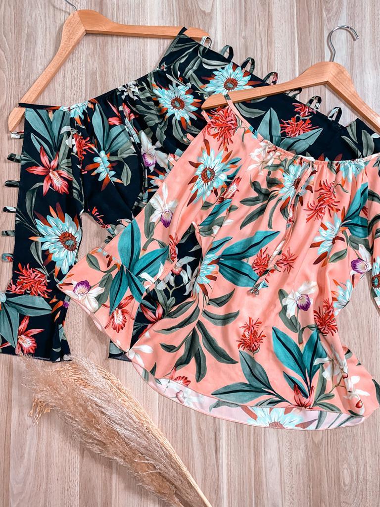 Blusa Ciganinha Manga Vazada LB Sofia Floral Digital
