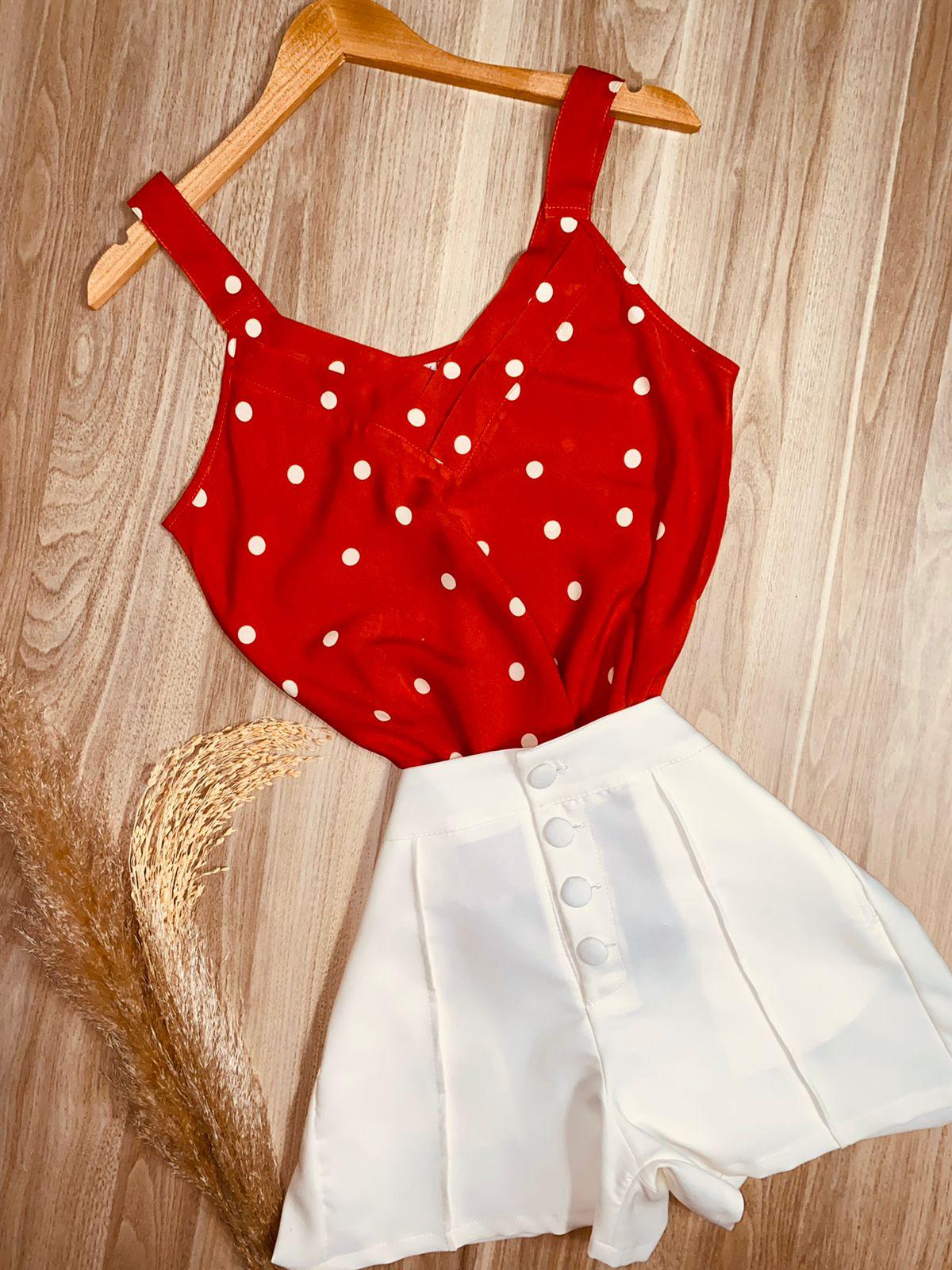 Blusa de Alça Poá Vermelho