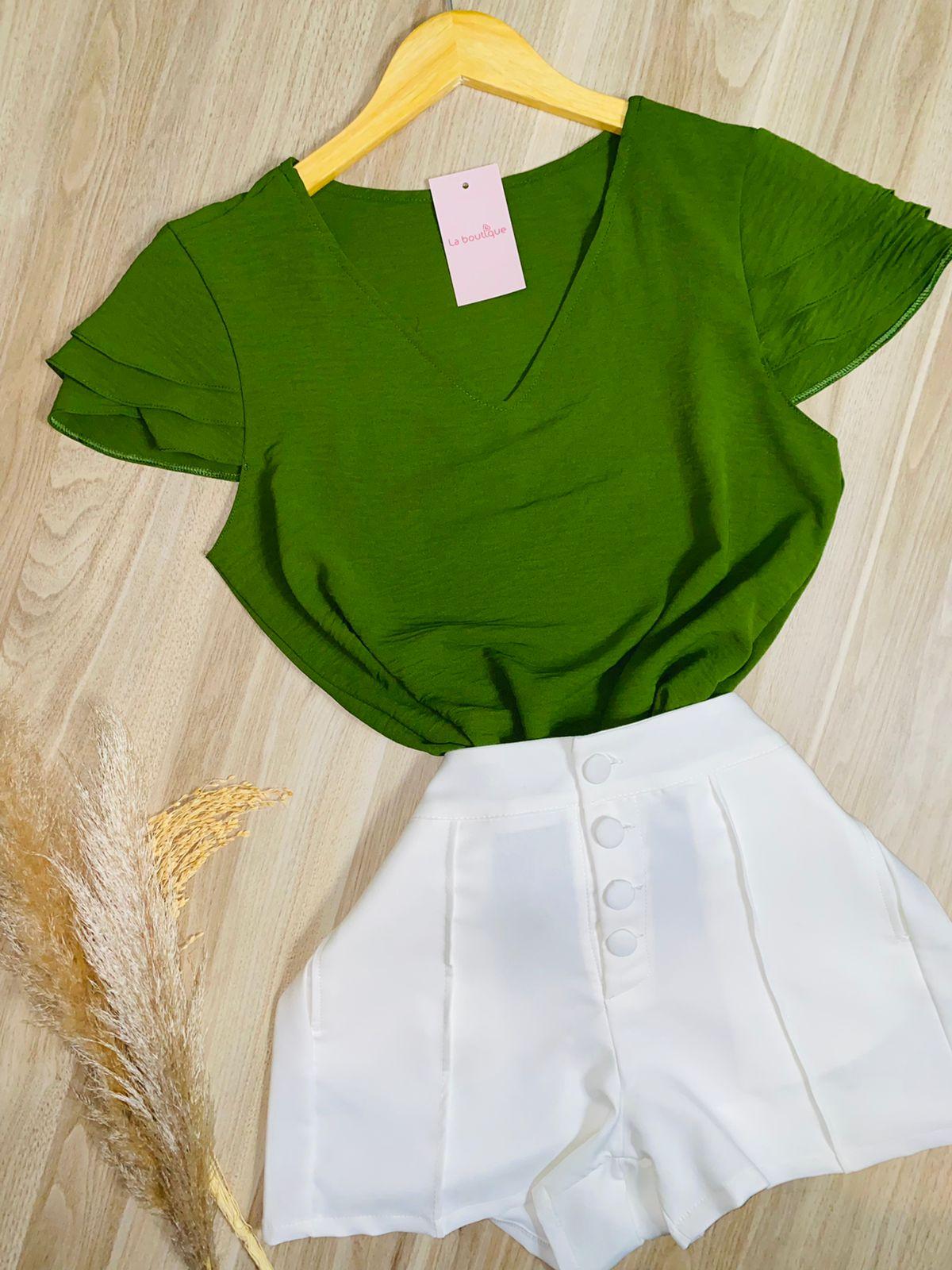 Blusa Delicada Decote V Verde
