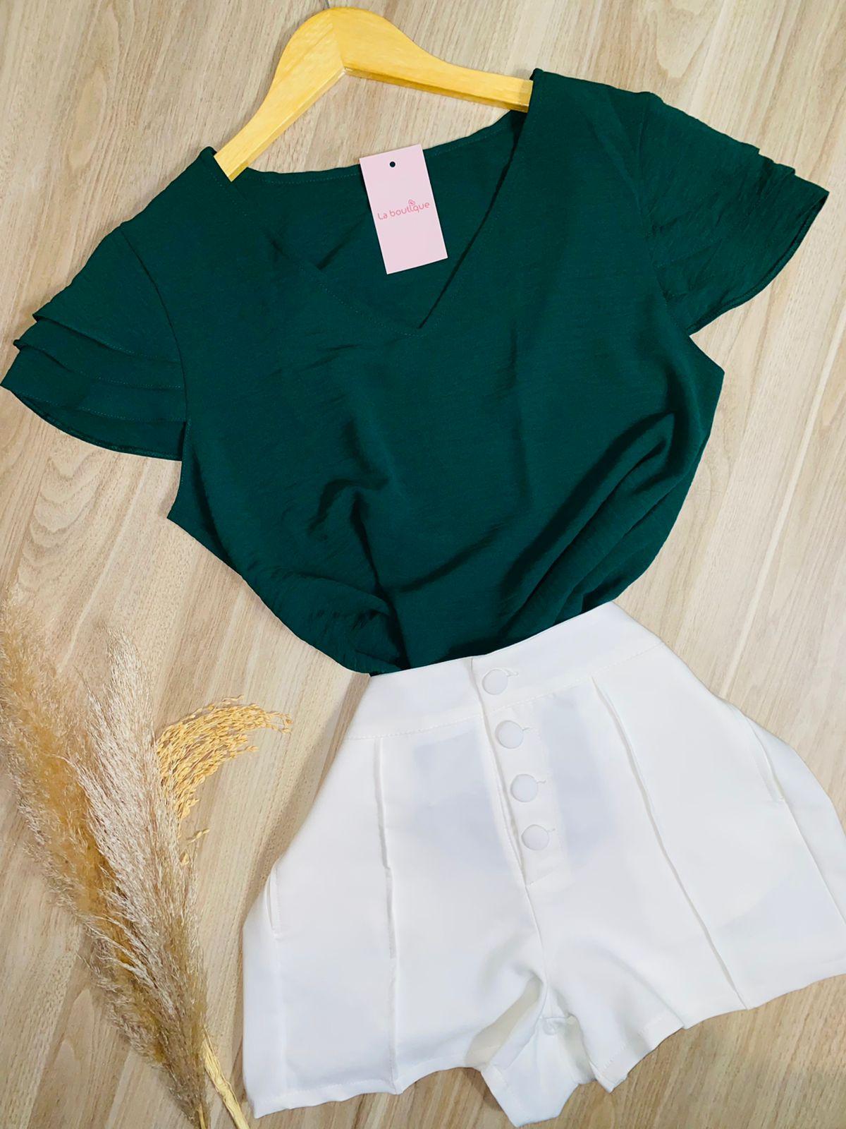 Blusa Delicada Decote V Verde Escuro