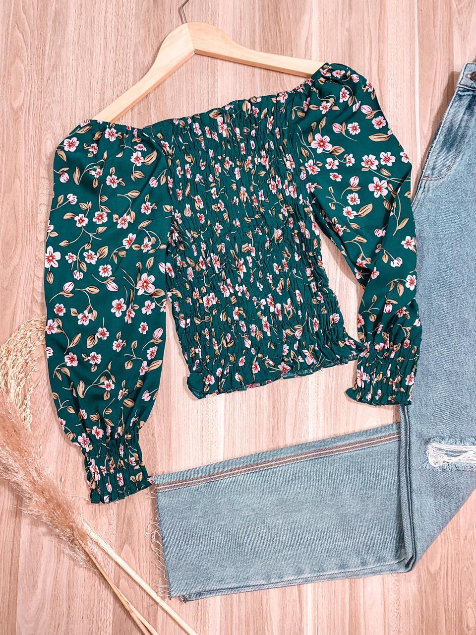 Blusa Lastex Amanda Floral Verde