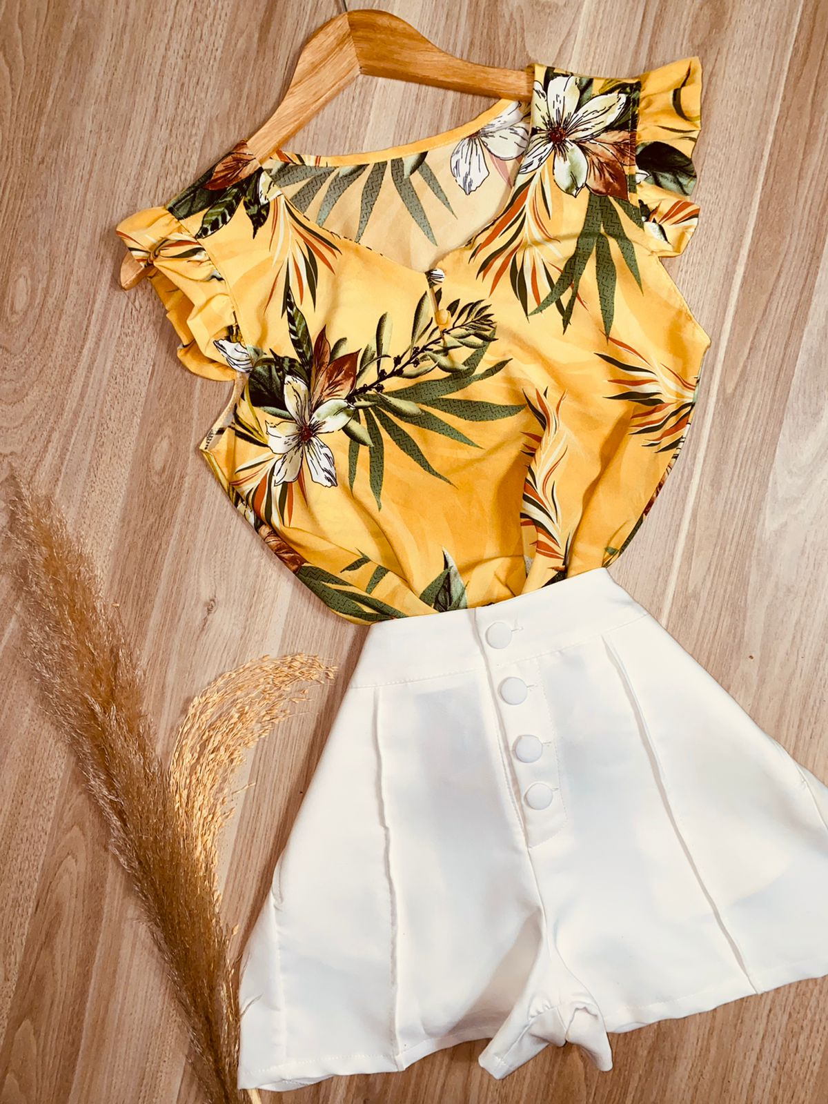 Blusa Manga Babadinho Flores Amarela