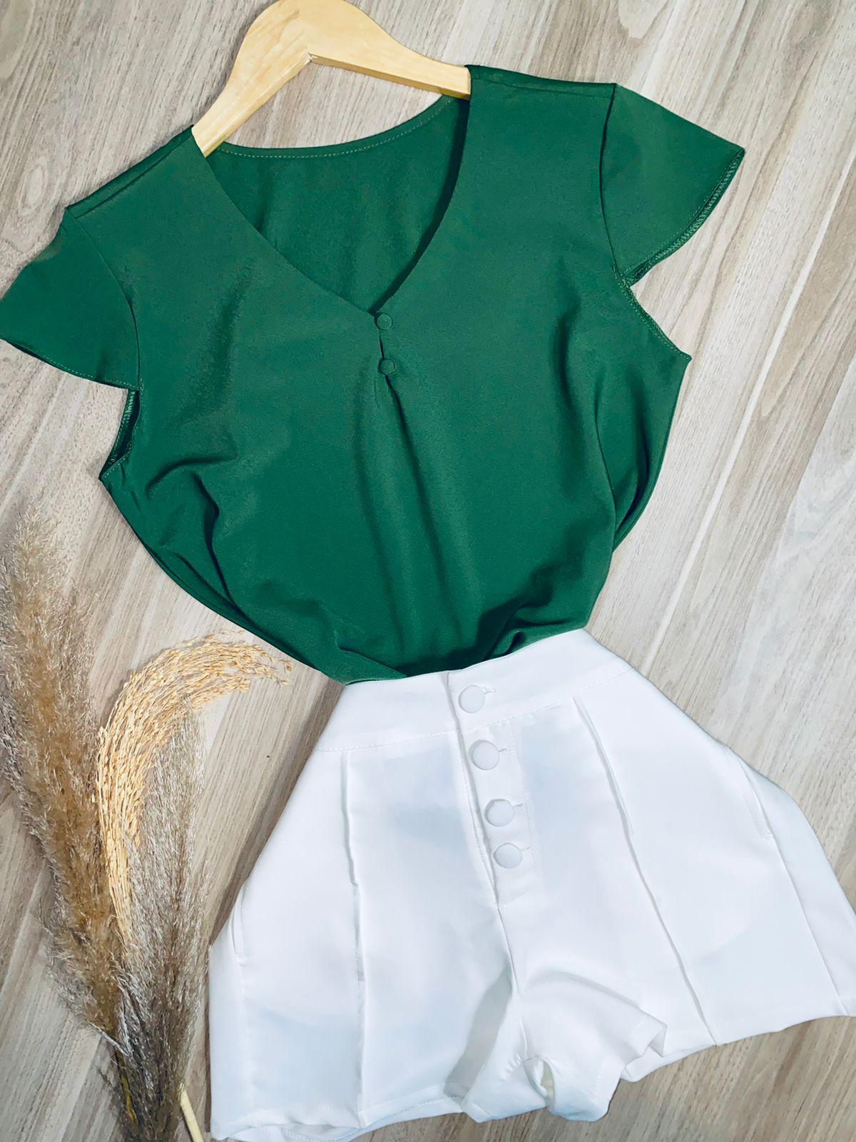 Blusa Manga Curta Fashion Verde